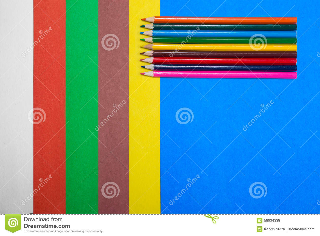 Set of colored cardboard with a pencil stock photo image for Bright vibrant colors