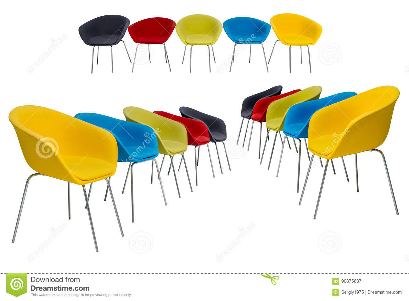 Set Of Colored Chairs With Fabric Upholstery Isolated On