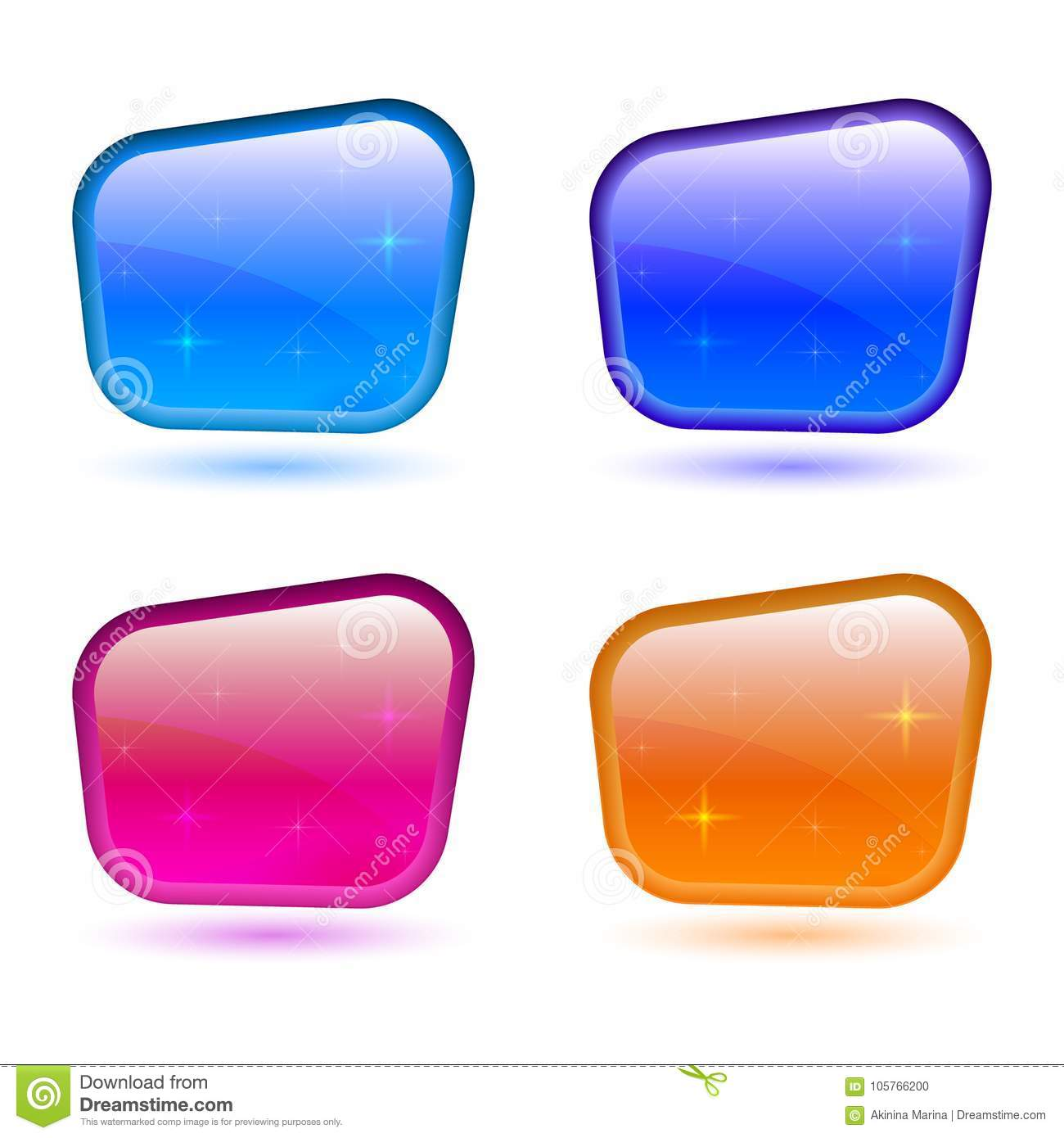 Set of colored 3d buttons. Icons for web. Vector design rectangle
