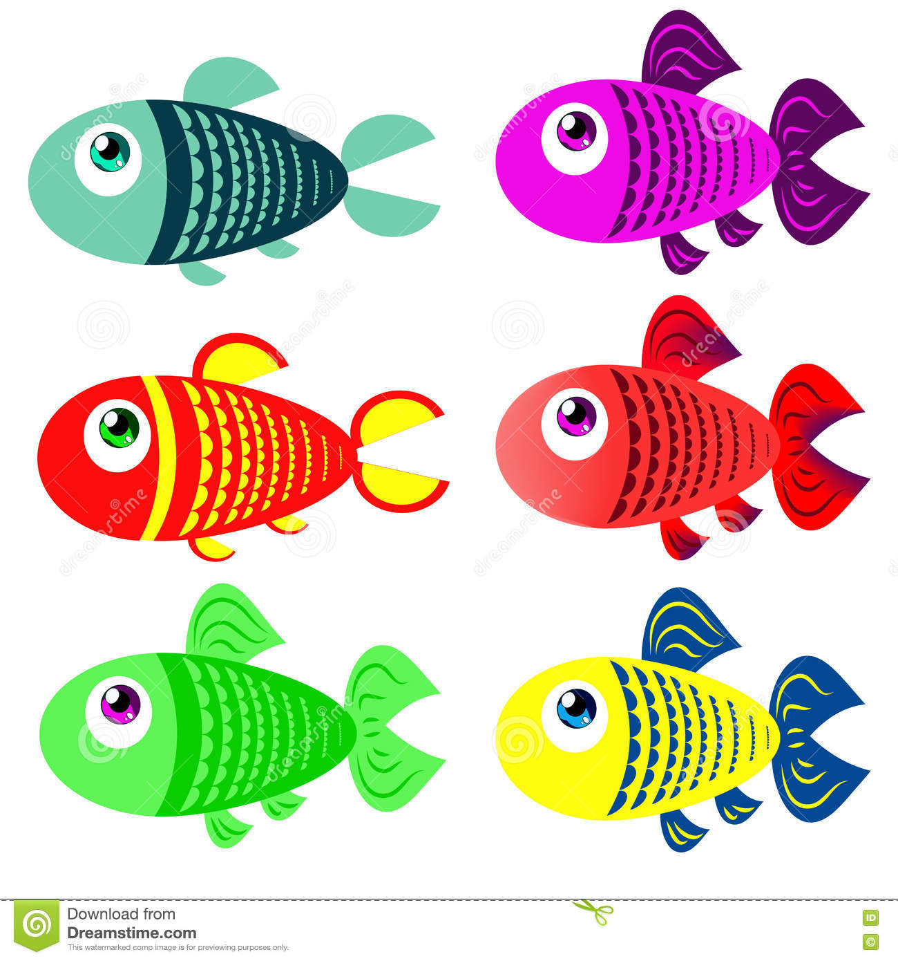 Set Of Colored Fish In Cartoon Style Stock Vector Illustration