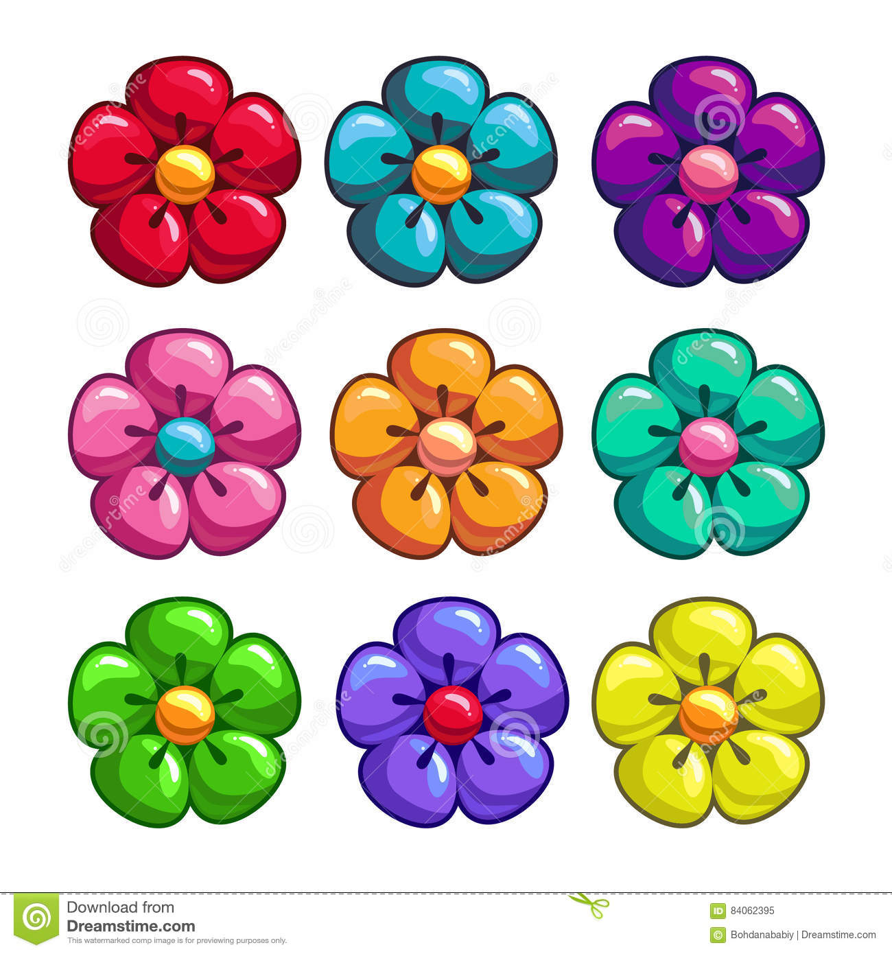 A set of colored flowers stock vector  Illustration of blue