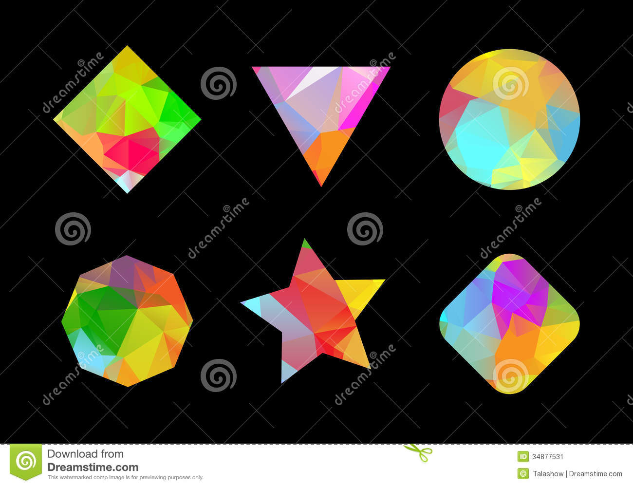Set of colored geometric polygonal shapes.