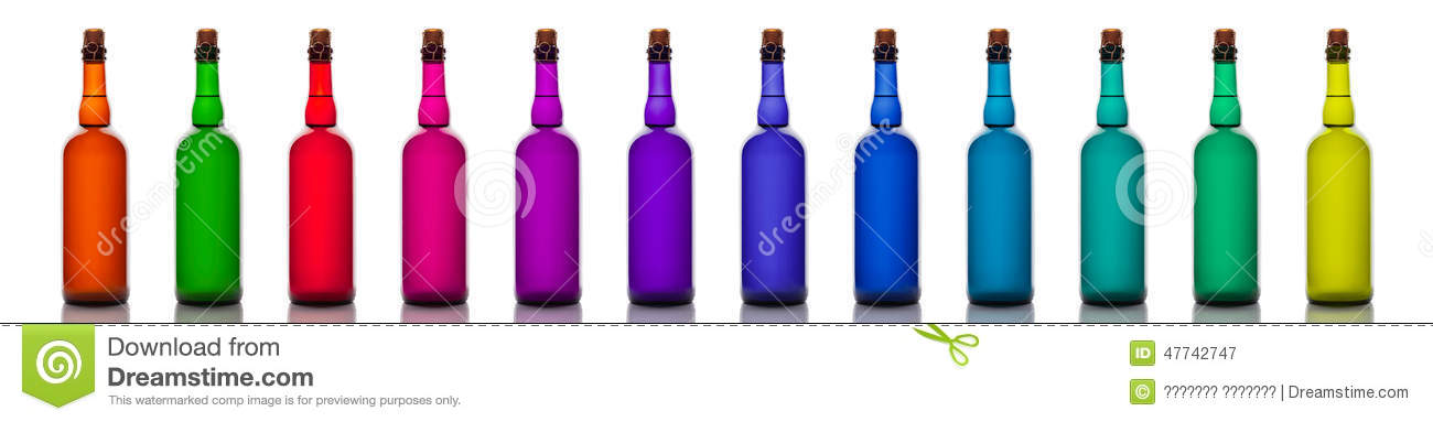 set of colored glass bottles isolated on white background - Colored Glass Bottles