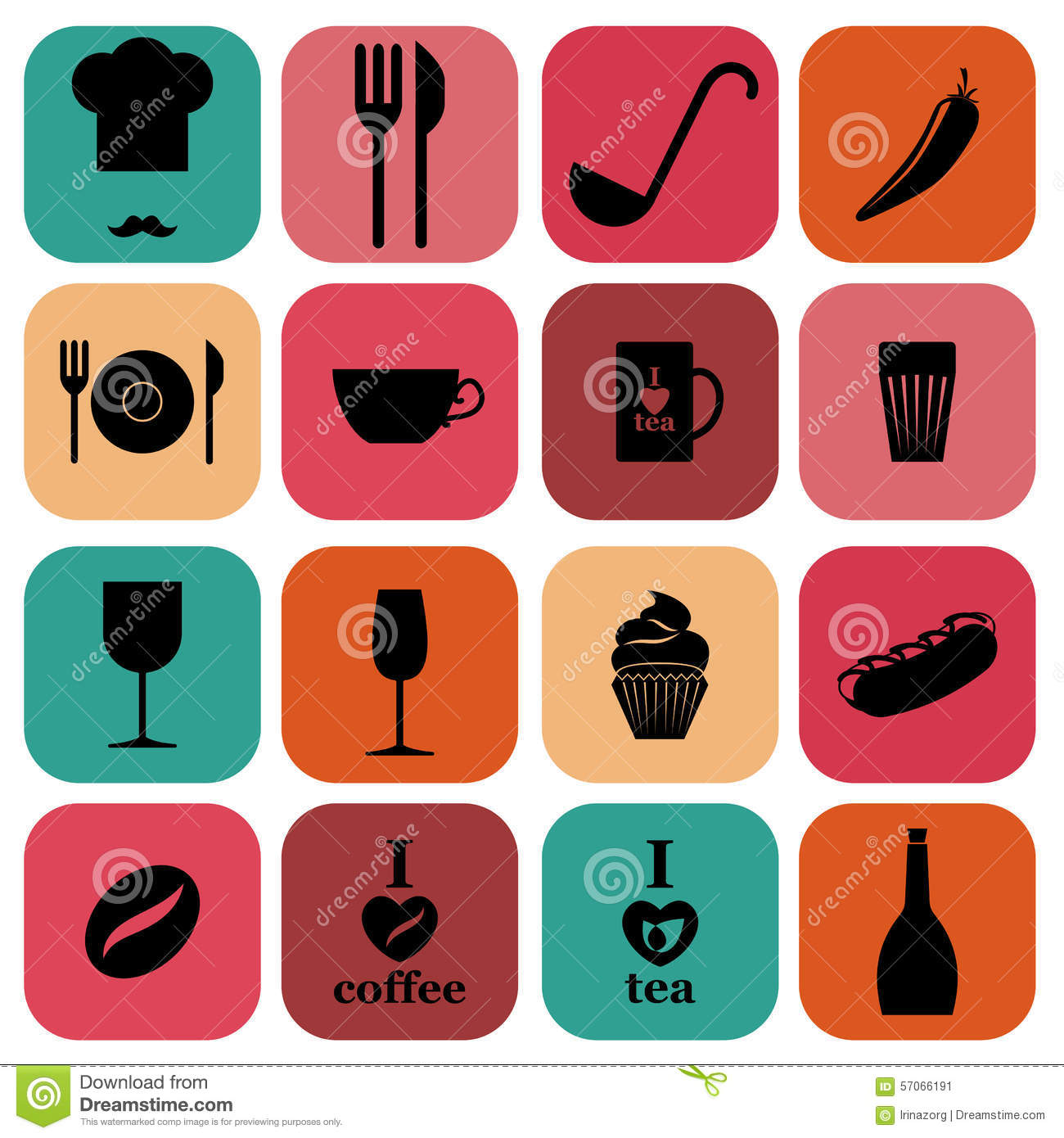 Food and kitchen icons set cartoon vector cartoondealer for Kitchen set vector