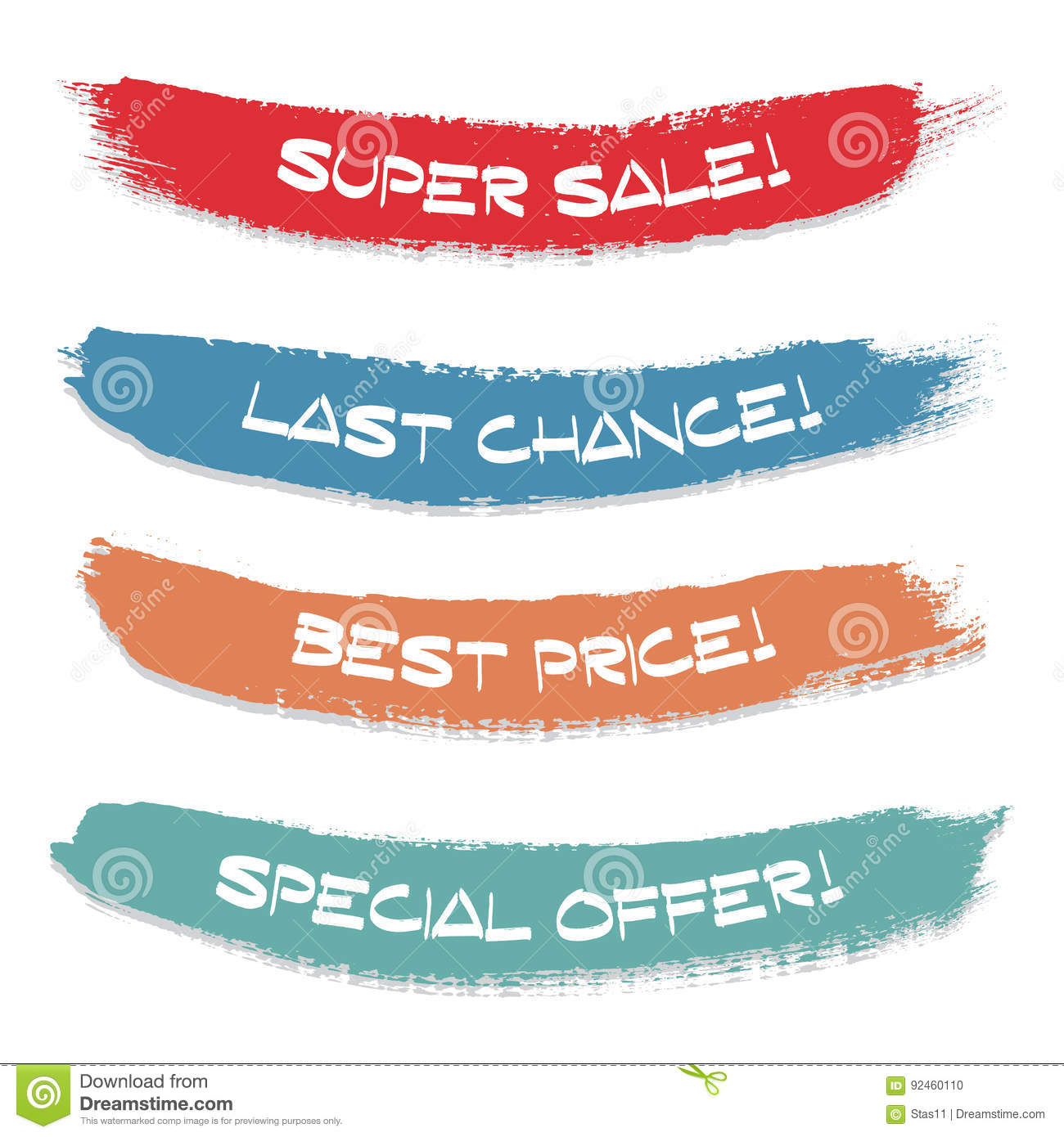 Set of colored ink stroke. Sale, special offer, last chance, best price