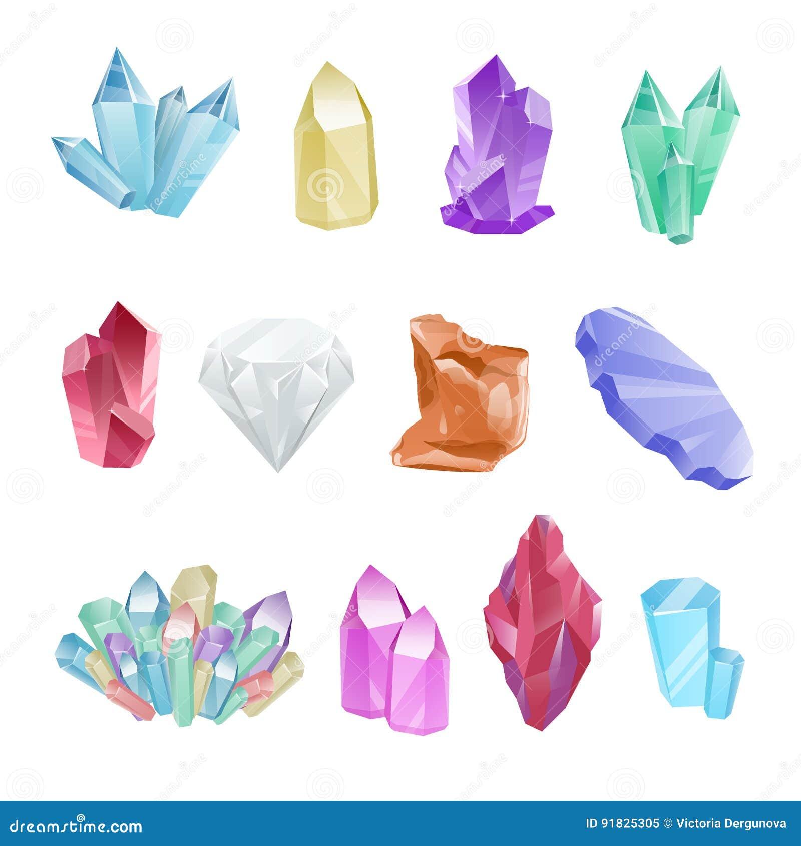 Set colored minerals, crystals, gems, diamond