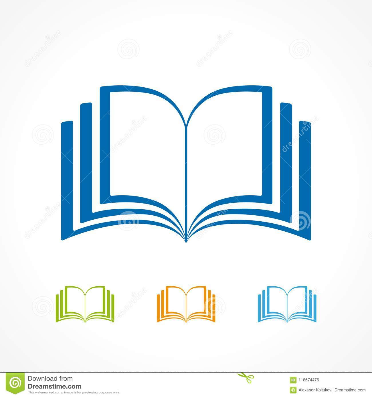 Set of colored open books stock vector  Illustration of online
