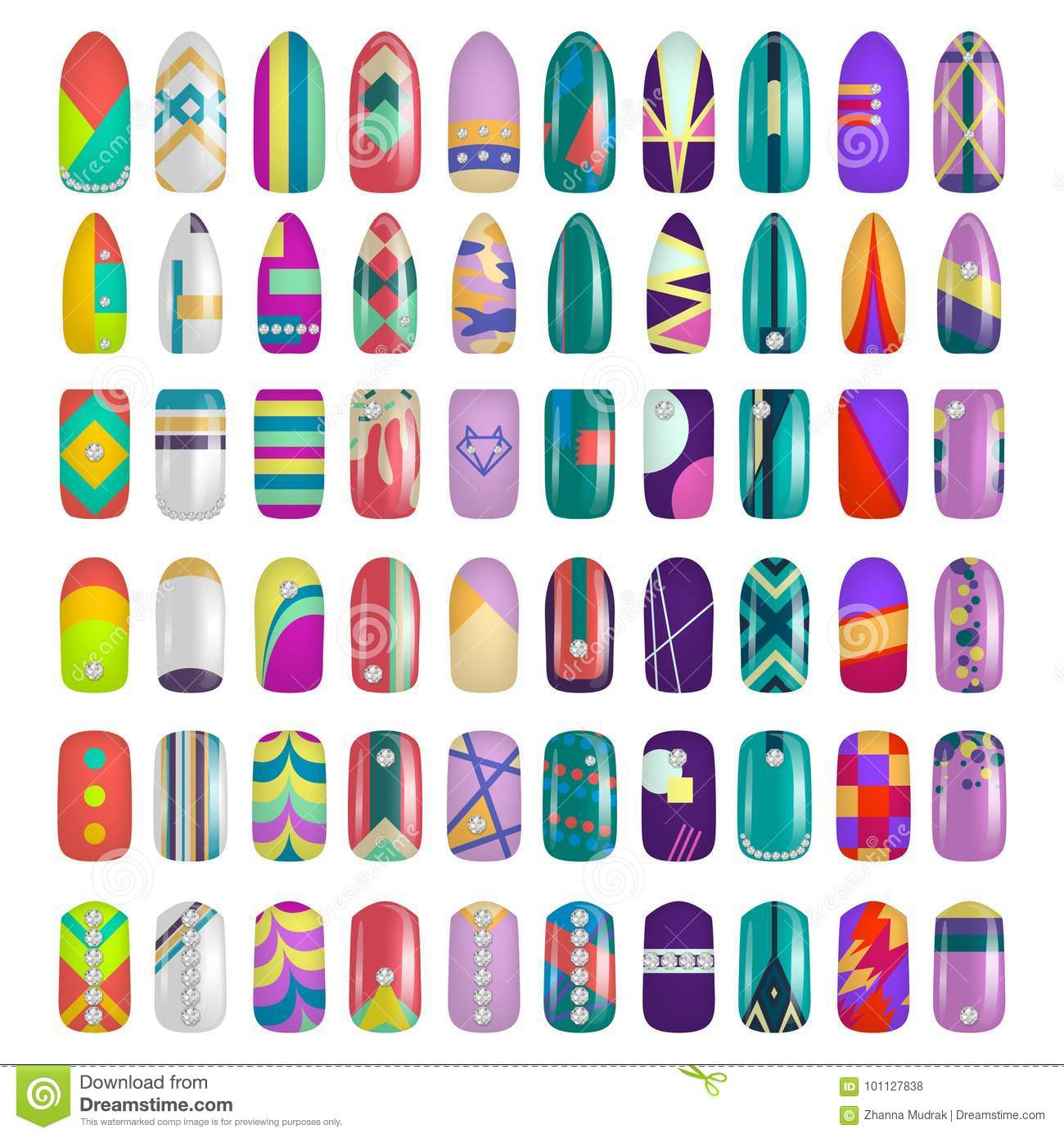 Set Of Colored Painted Nails. Manicure. Nail Polish. Stock ...
