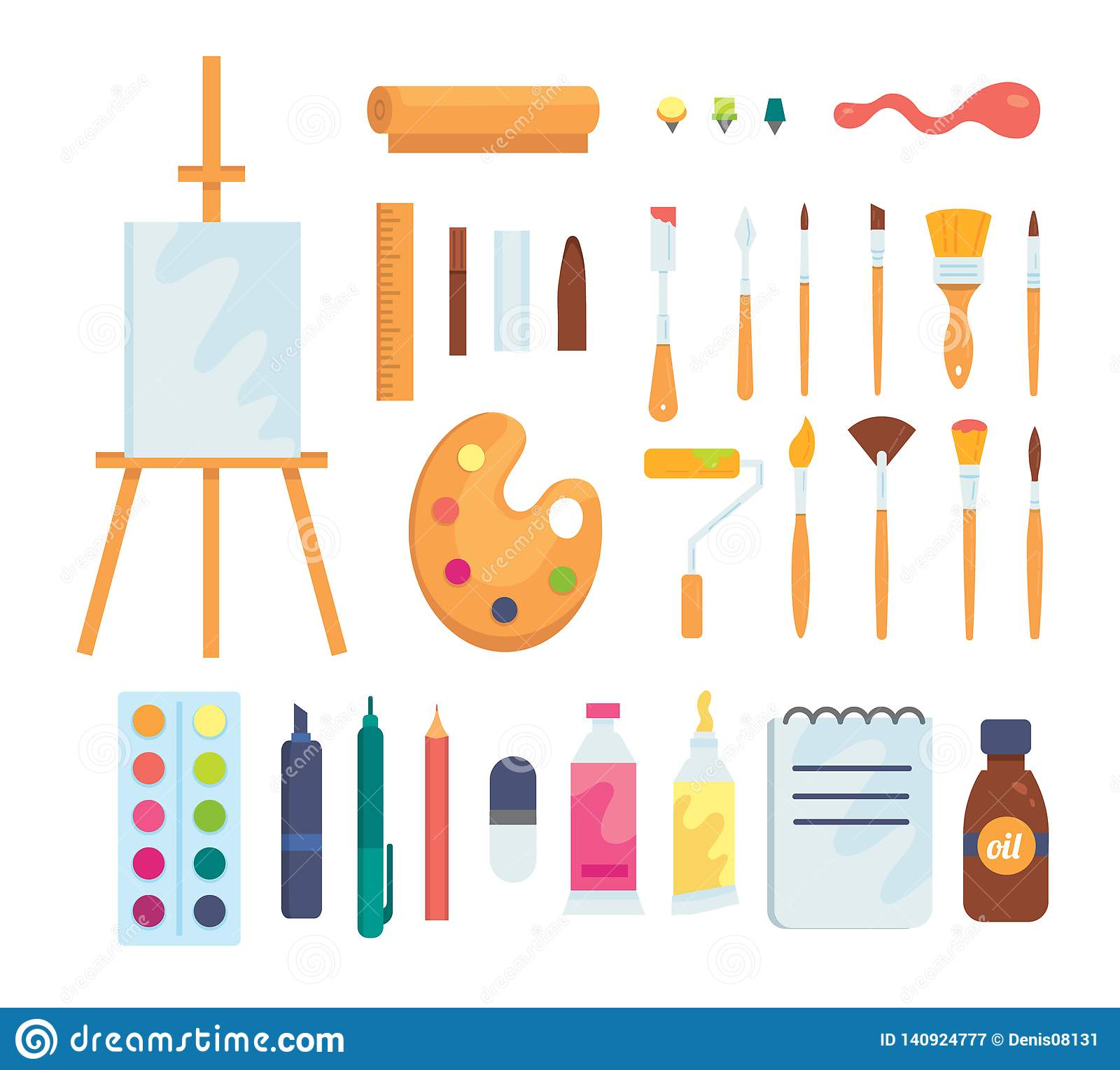 Set of colored painting tools vector icons in cartoon style. Supplies, art brushes and easel. Artist or school