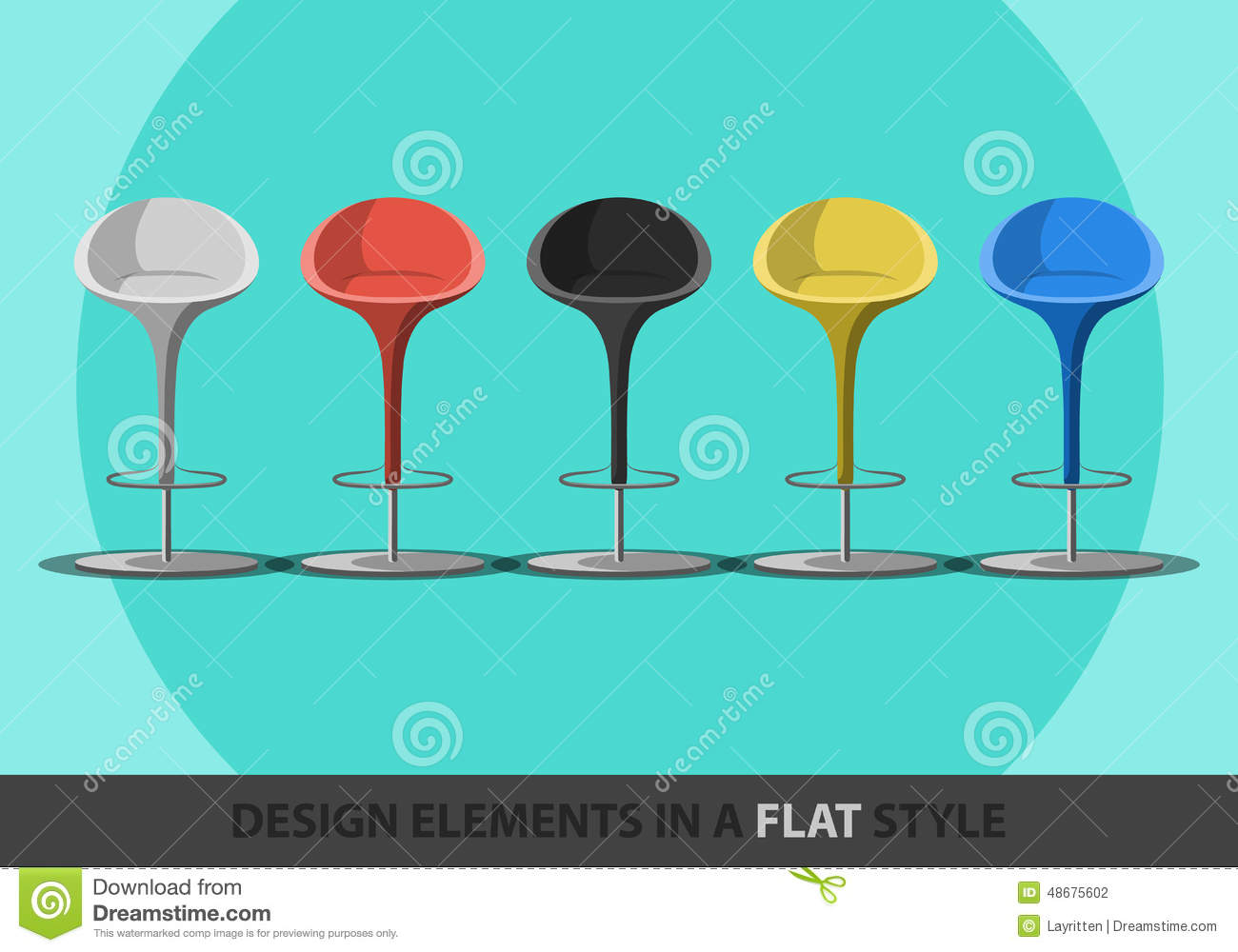 Set of colored stools in a flat style.