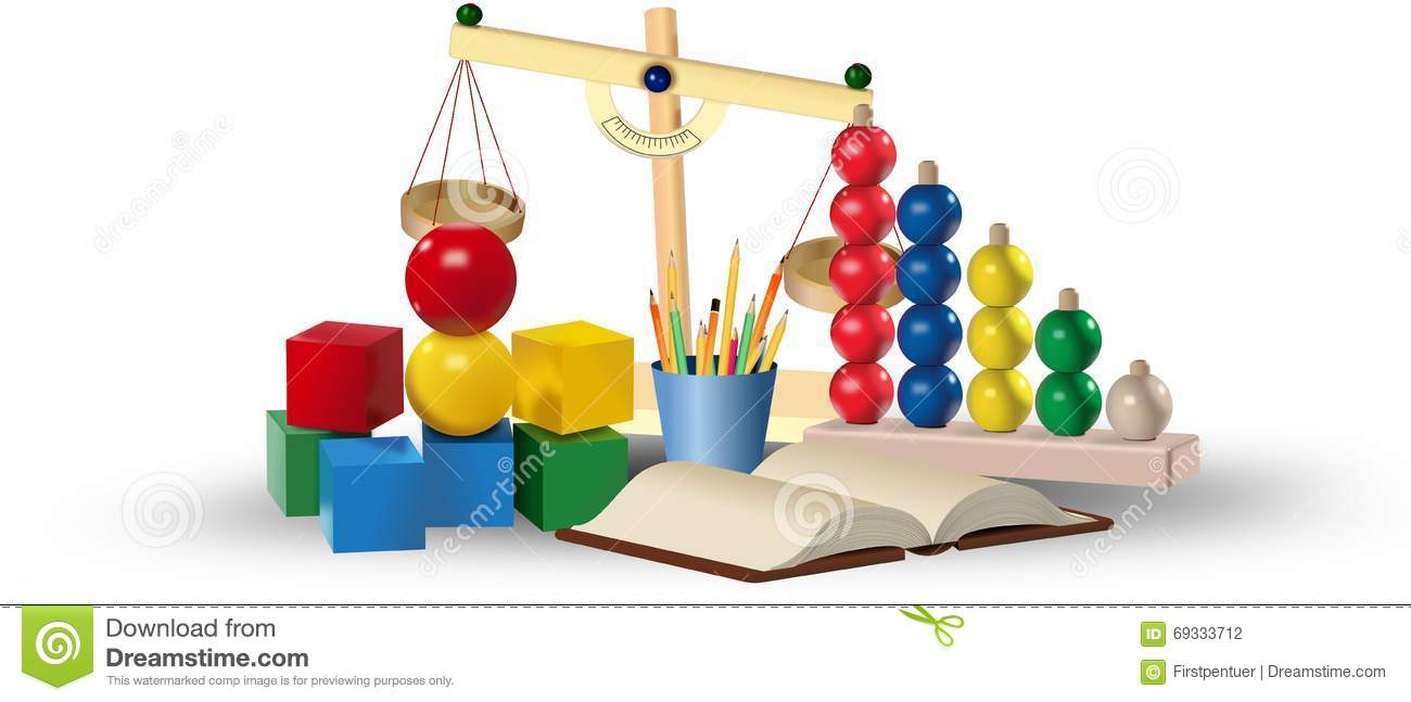 Set of colored toys and educational tools. Education concept
