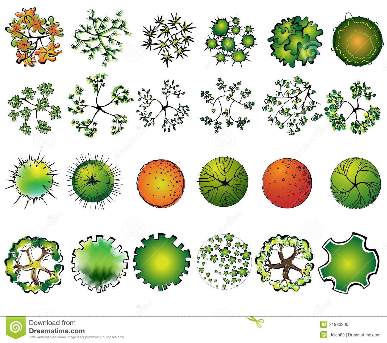 A set of colored treetop symbols stock photo image 31883300 for Garden design graphics