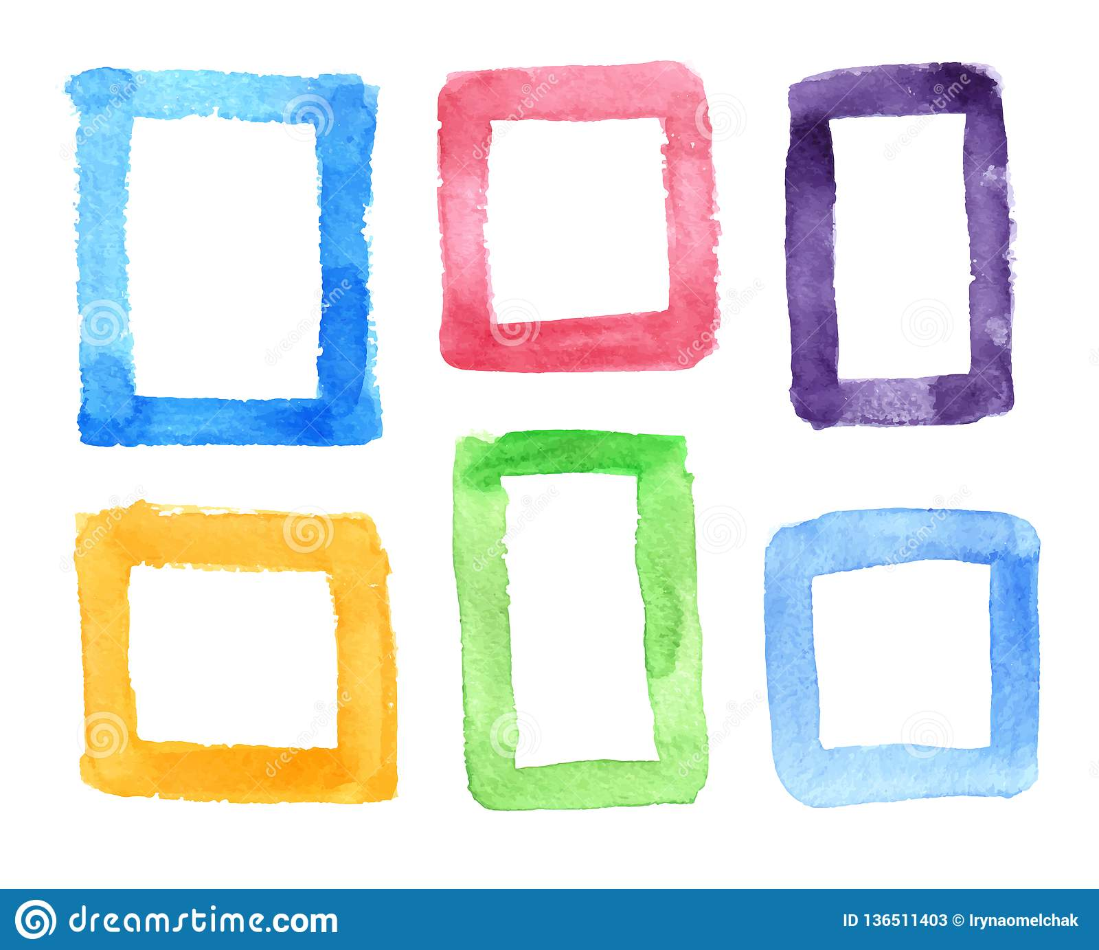 6dc69d32161c Set of colored watercolor frames isolated on a white background. Suitable  for decorating design. More similar stock illustrations