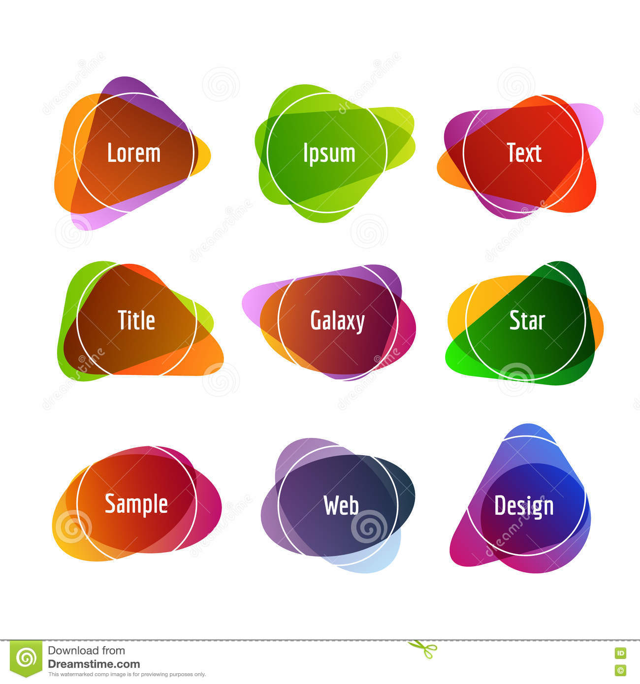 Set of colorful abstract banners. Graphic banners design with overlay colors