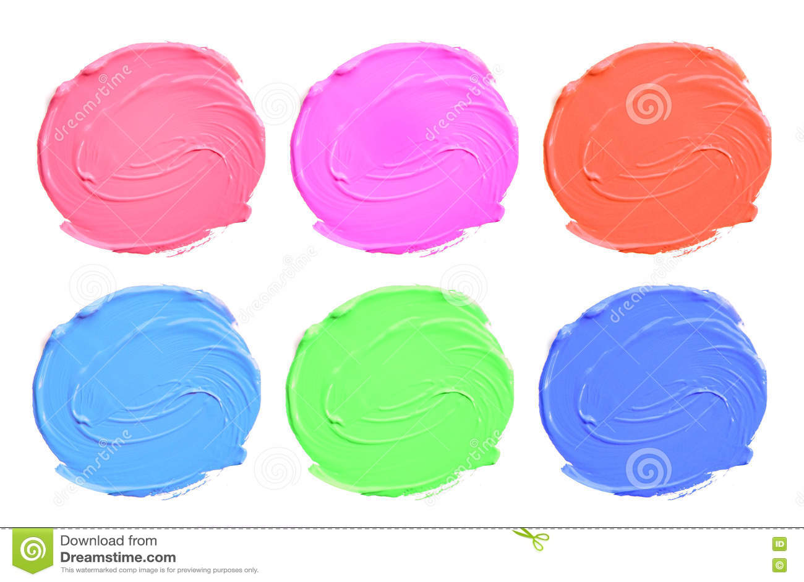Set of colorful acrylic blots isolate on white.