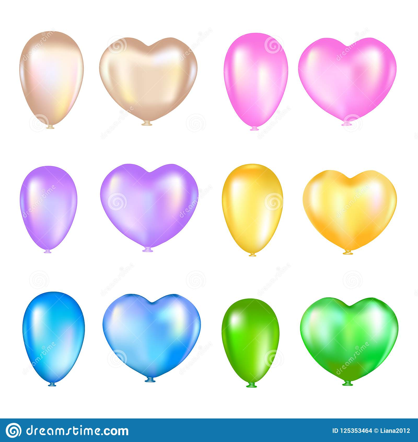 Set of colorful air balloons on a white background