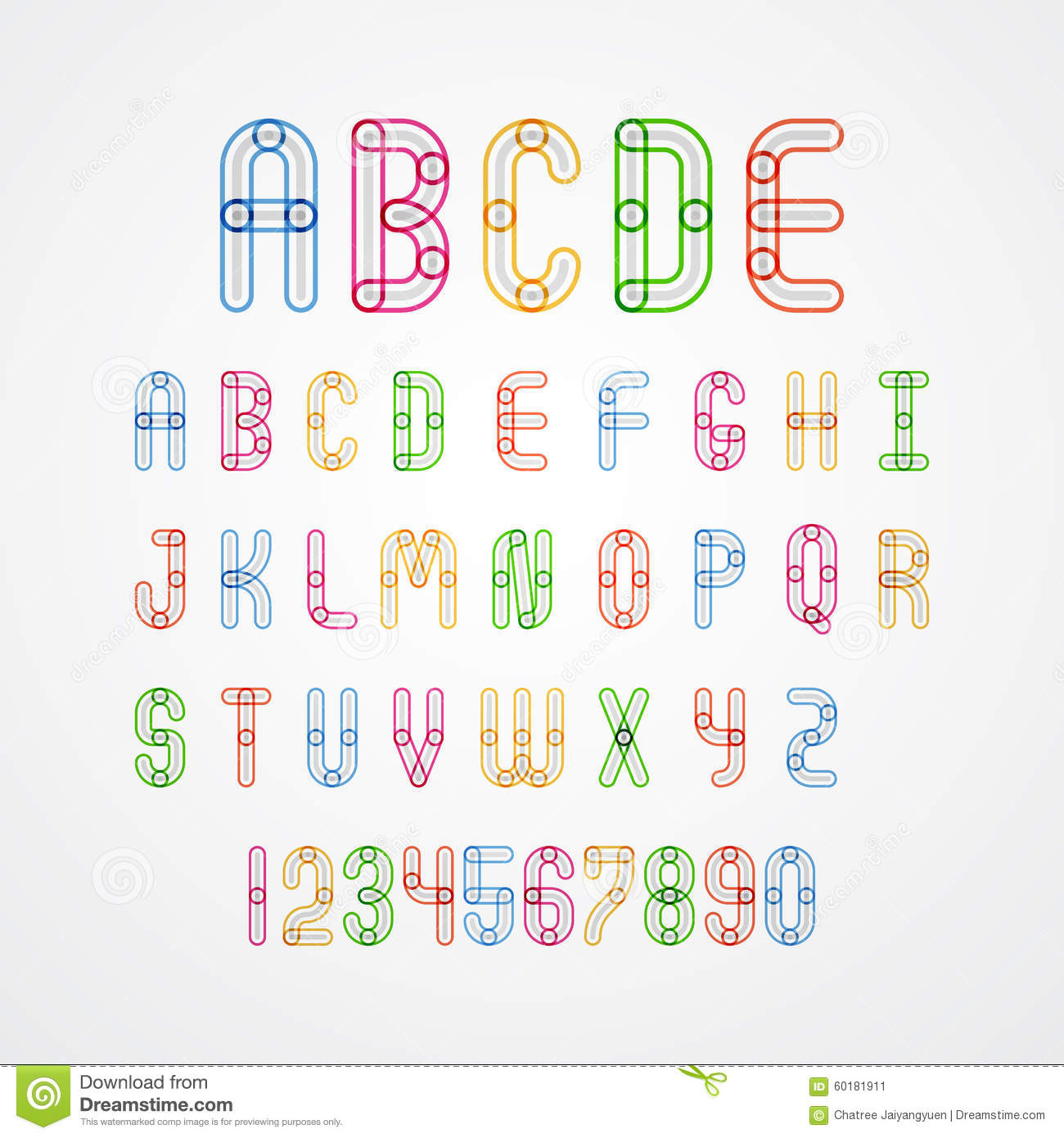Download Set Of Colorful Alphabet Capital Letters A To Z And Numbers Stock Vector