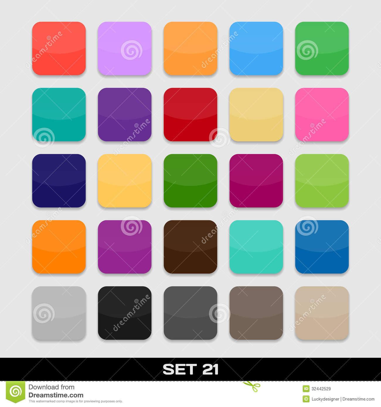 Set Of Colorful App Icon Templates, Frames, Backgrounds. Set 21 ...