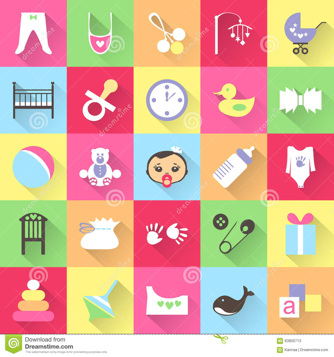 Set Of Colorful Baby Items With Shadows Vector Stock Vector