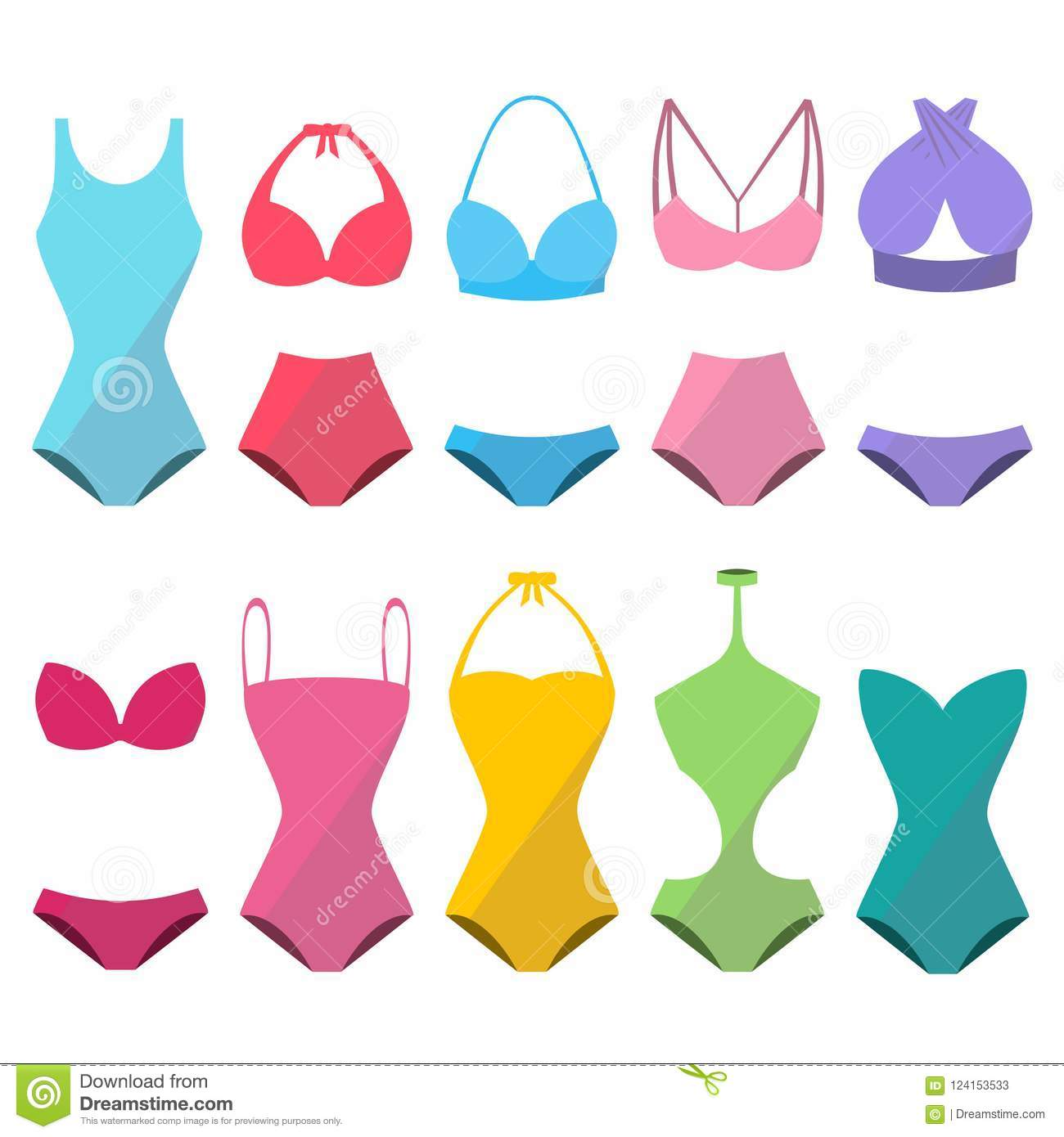 Set of colorful beautiful stylish swimwear for summer