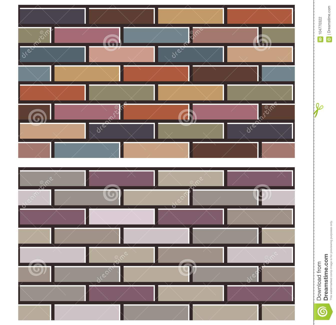 set of colorful brick wall textures collection background pattern