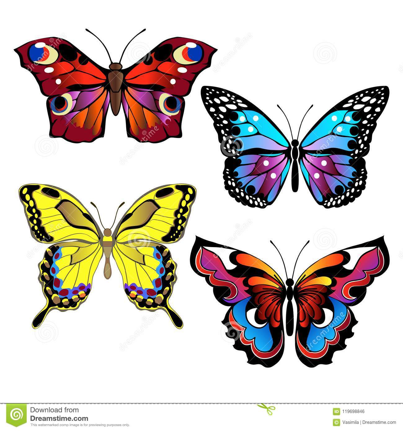 Set Of Colorful Butterflies Stock Vector Illustration Of Contour