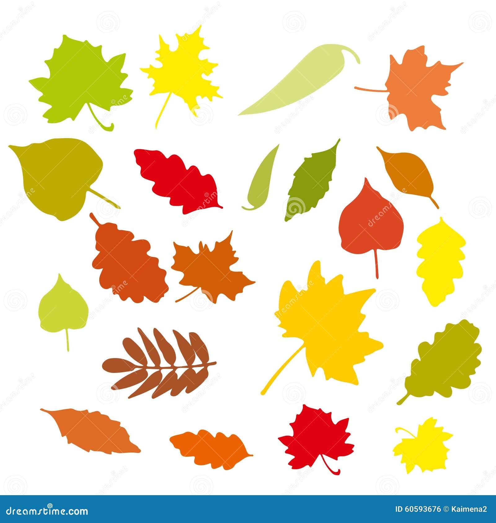 Set Of Colorful Cartoon Autumn Leaves. Vector Illustration