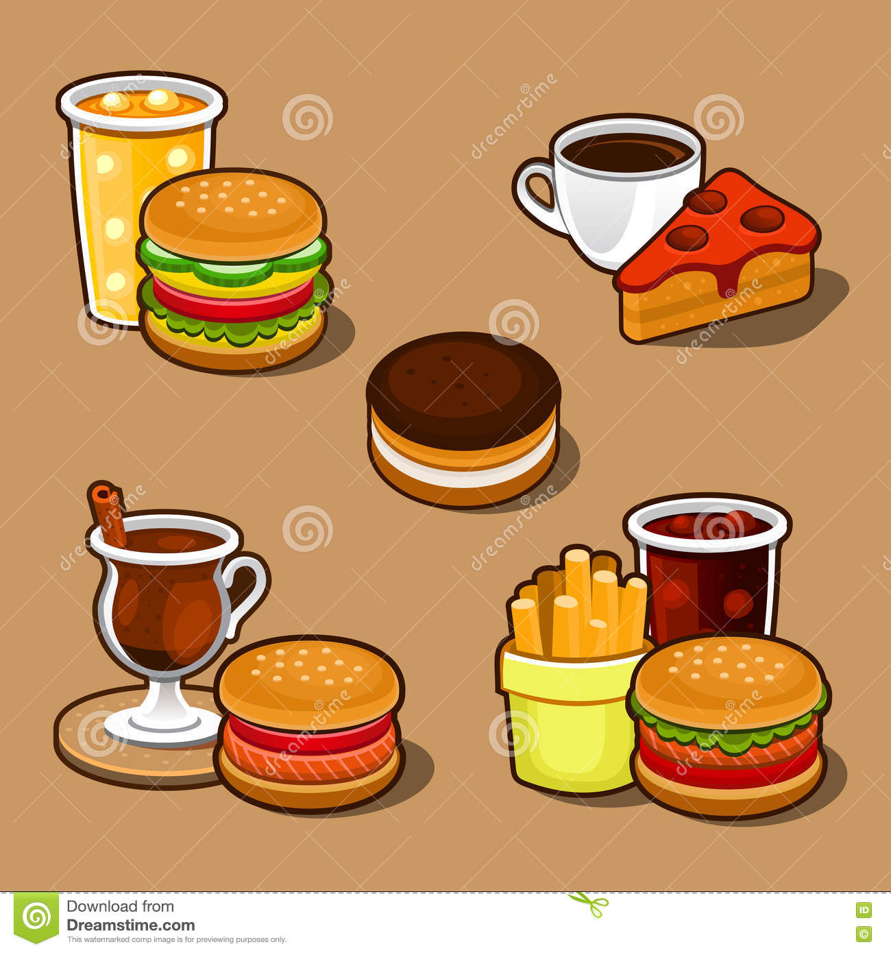 Set Of Colorful Cartoon Fast Food And Cake. Stock Photos - Image ...