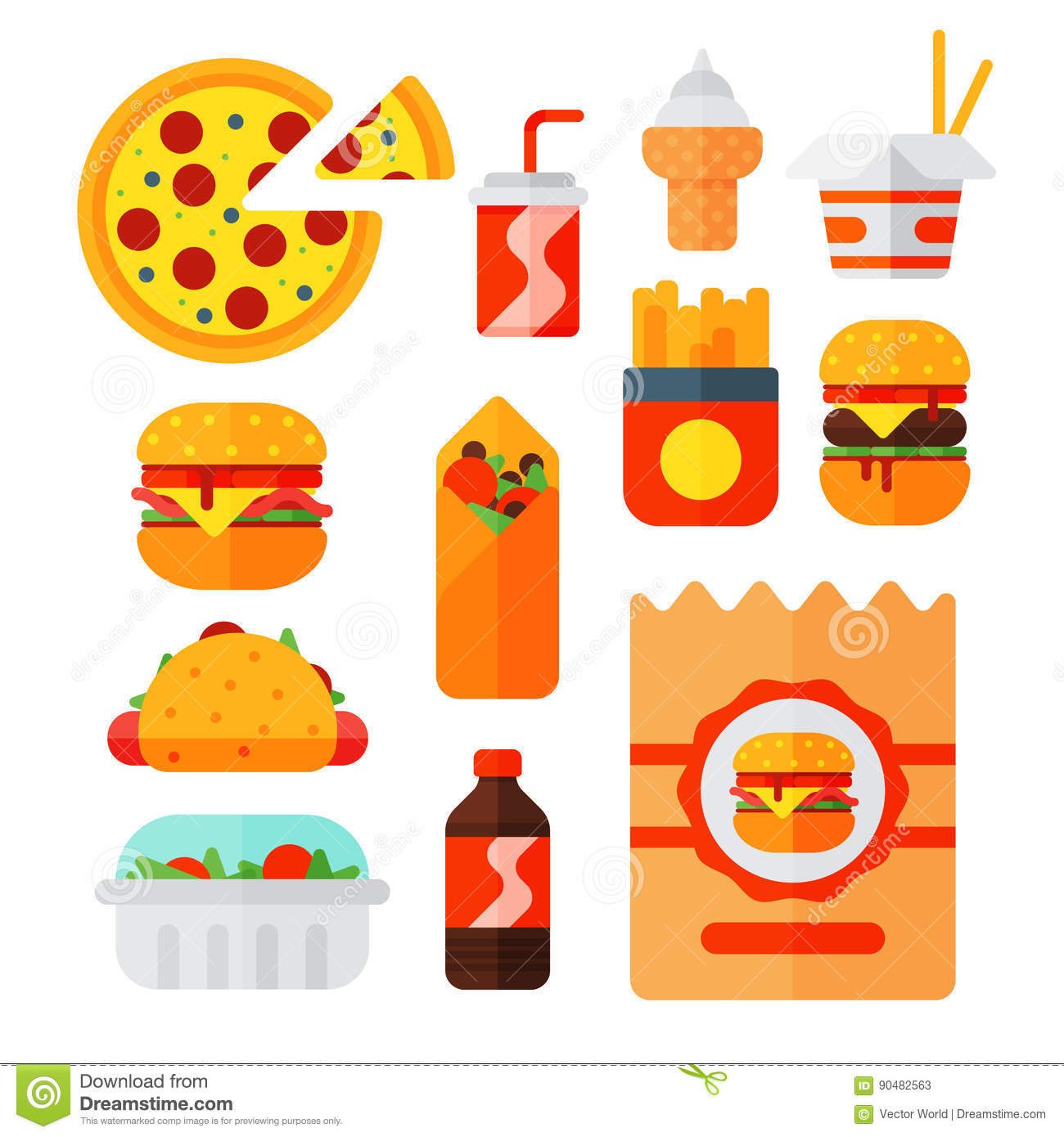 Cartoon restaurant free vector graphic download - Royalty Free Vector Set Of Colorful Cartoon Fast Food Icons Isolated Restaurant Tasty American Cheeseburger Meat And Unhealthy Burger
