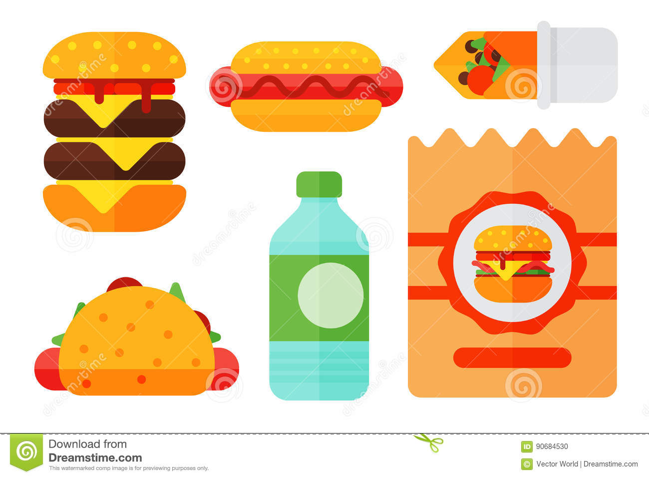 Cartoon restaurant free vector graphic download - Royalty Free Vector Set Of Colorful Cartoon Fast Food Icons Restaurant Tasty American Cheeseburger Meat And Unhealthy Burger Meal