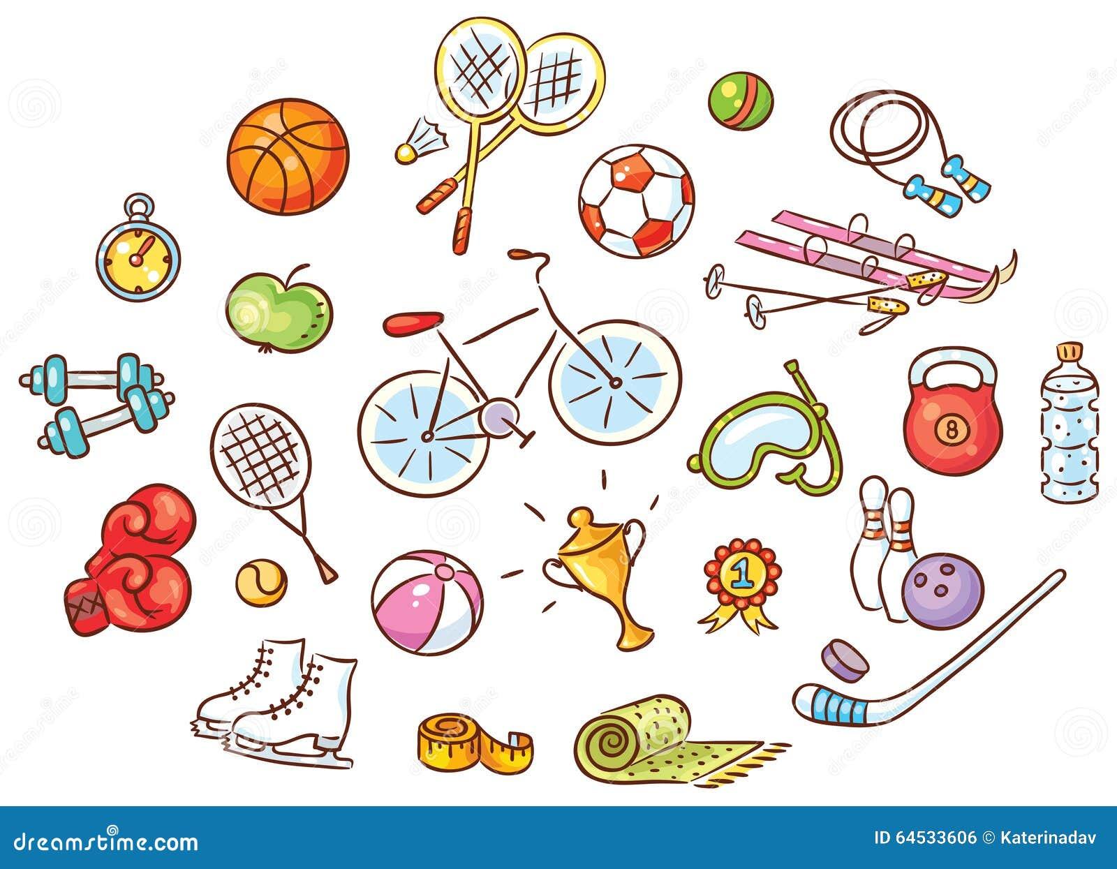 Summer Sports Cartoon: Set Of Colorful Cartoon Sport Things Stock Vector