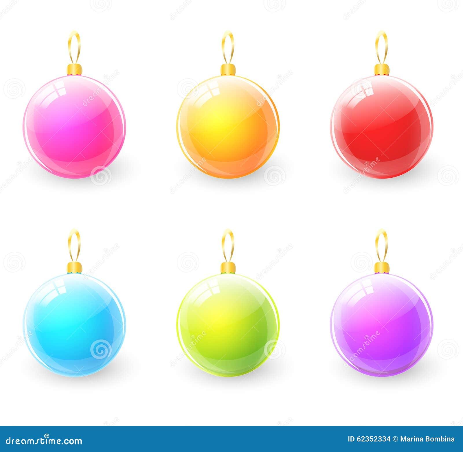 Set of colorful christmas ball stock vector illustration