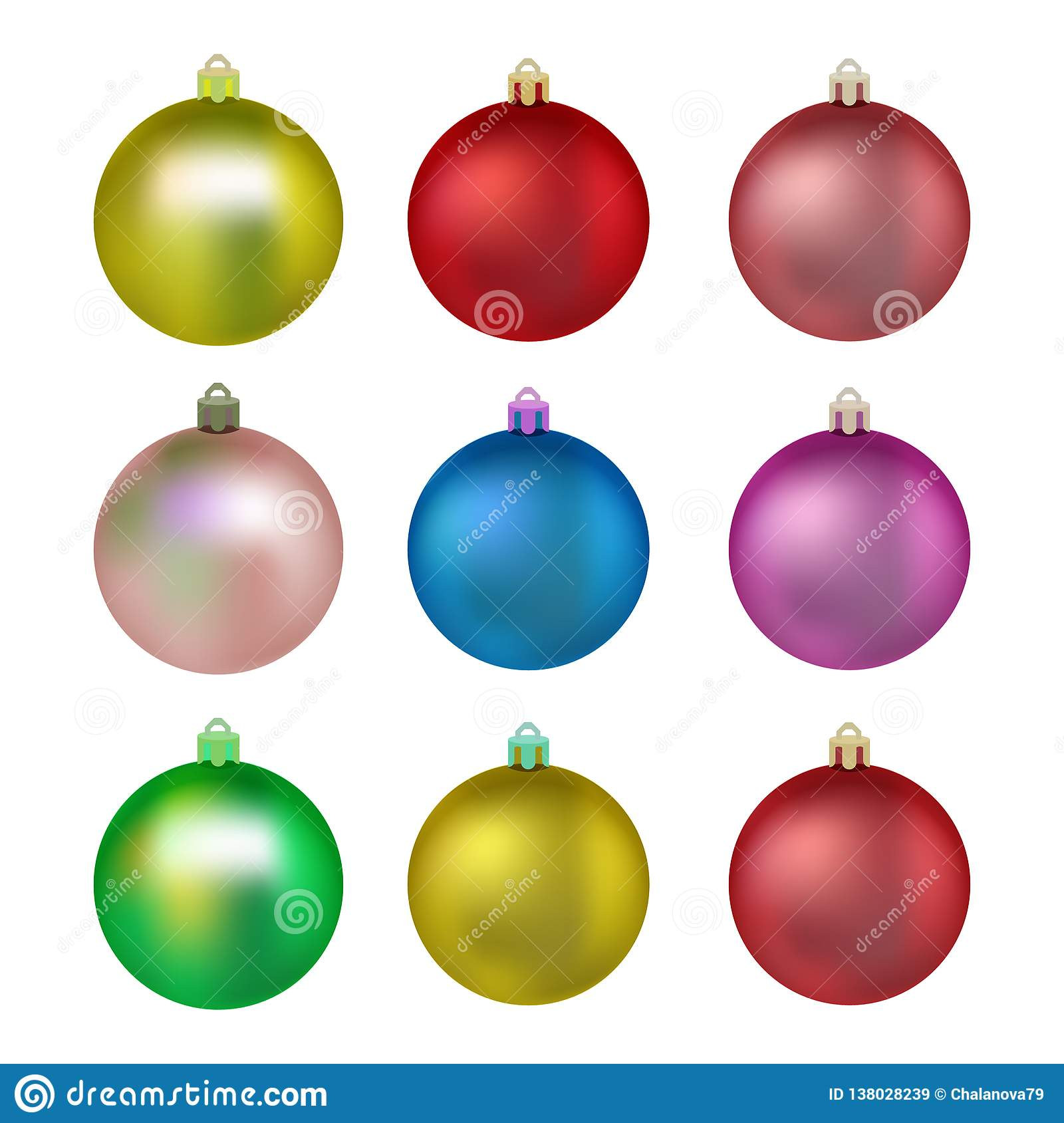 Colorful Christmas Tree Vector.Set Of Colorful Christmas Balls Balls For Christmas Tree