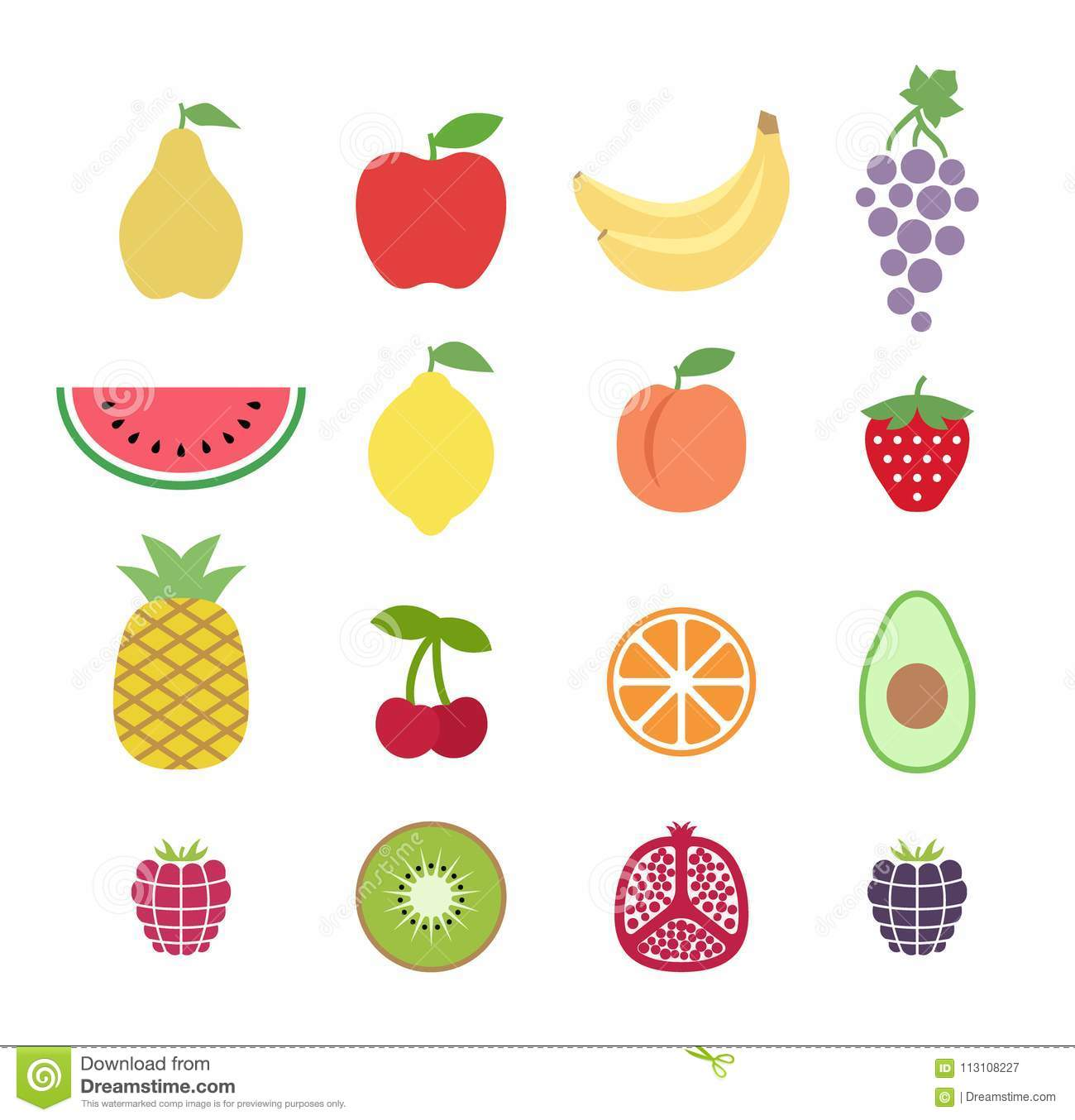 Set of colorful clipart fruits. Fruit icons set. Collection of clip art fruit icons.