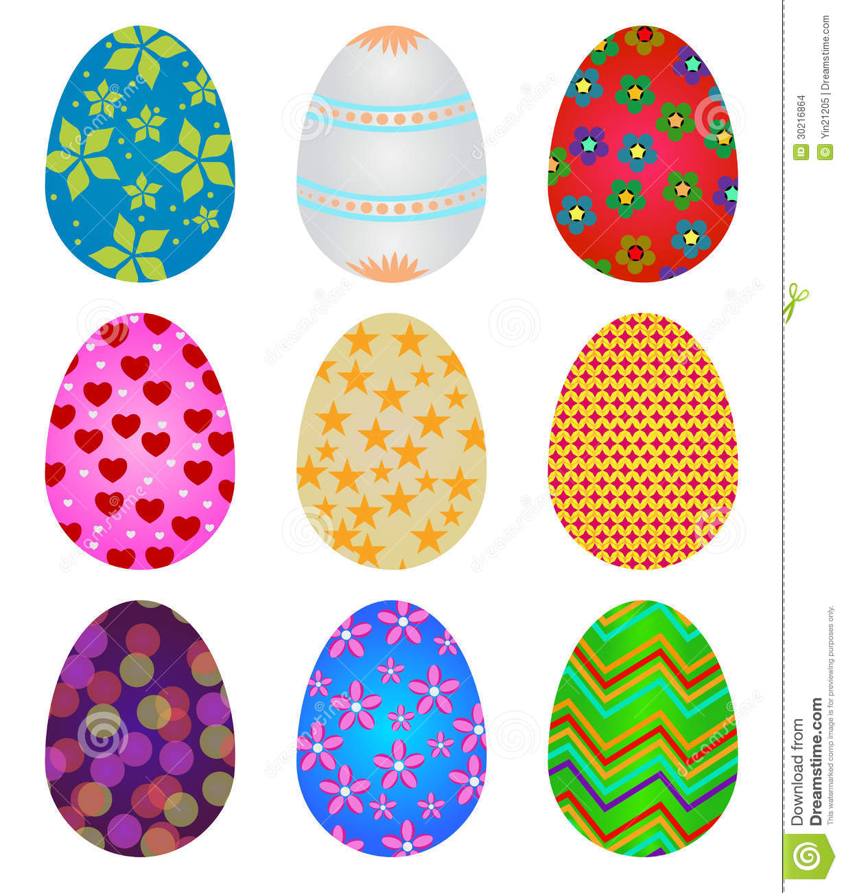Set of colorful decorative Easter eggs isolated on white Nzqp6NtV