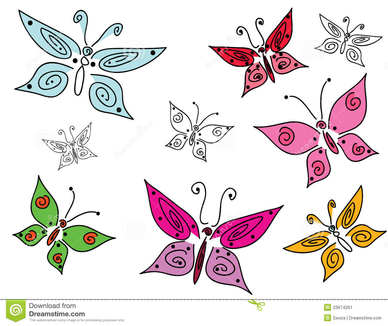 set of colorful doodle butterflies stock image