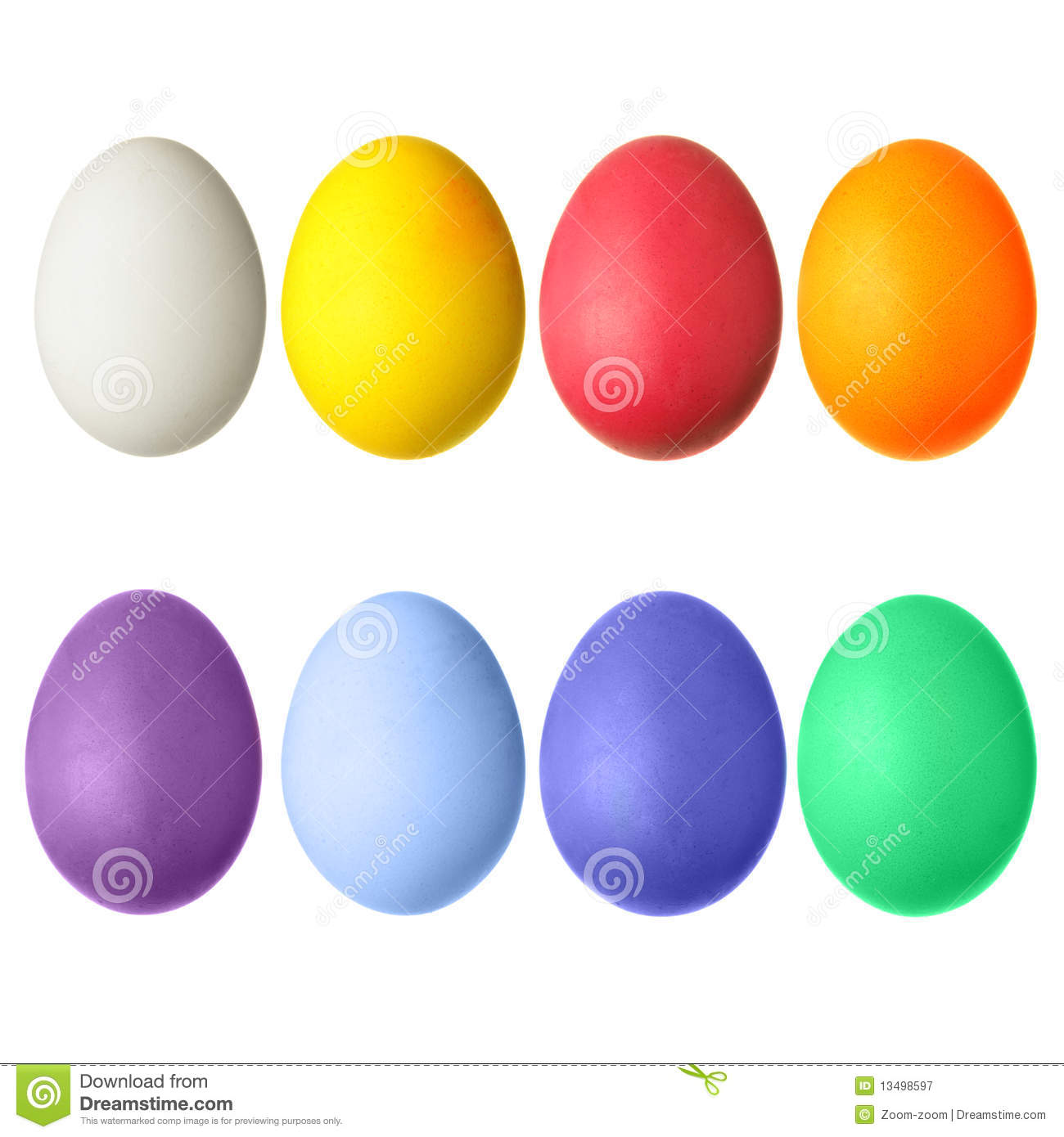Set Of Easter Different Colorful Eggs Royalty-Free Cartoon