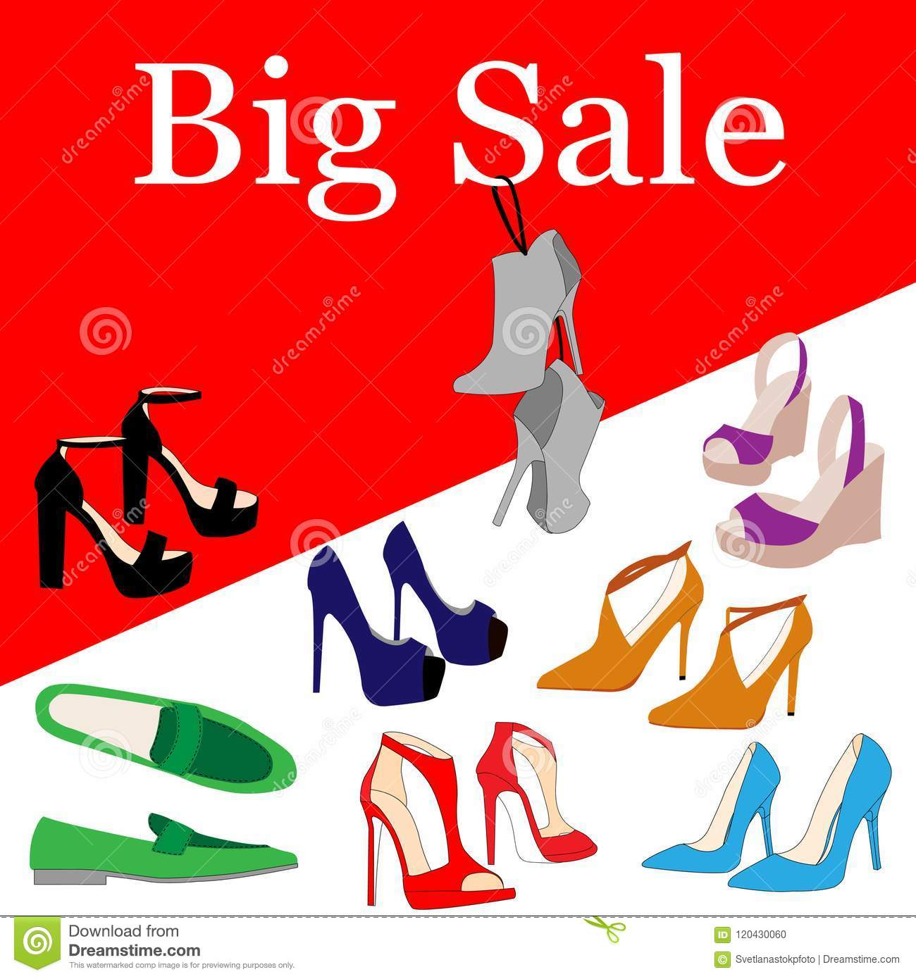 set of colorful fashion women s high heel shoes boots hang on