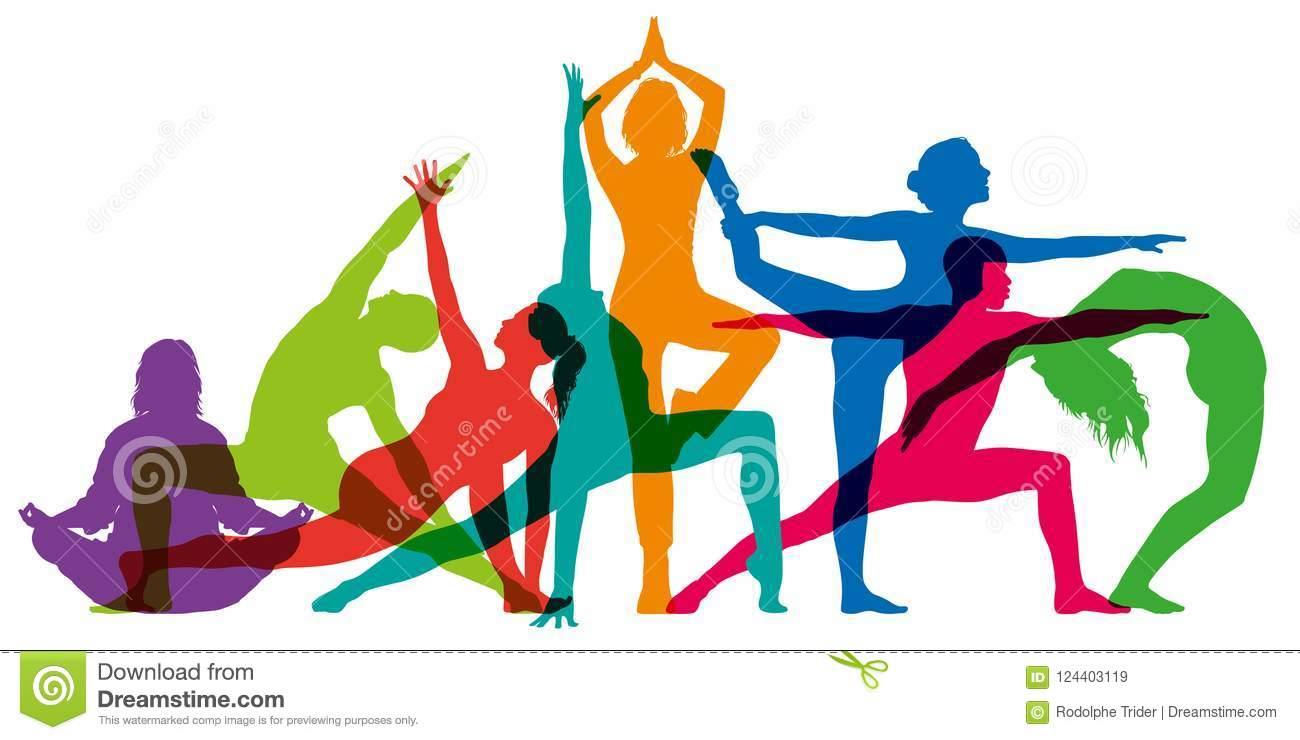 Set of colorful female silhouettes illustrating yoga positions