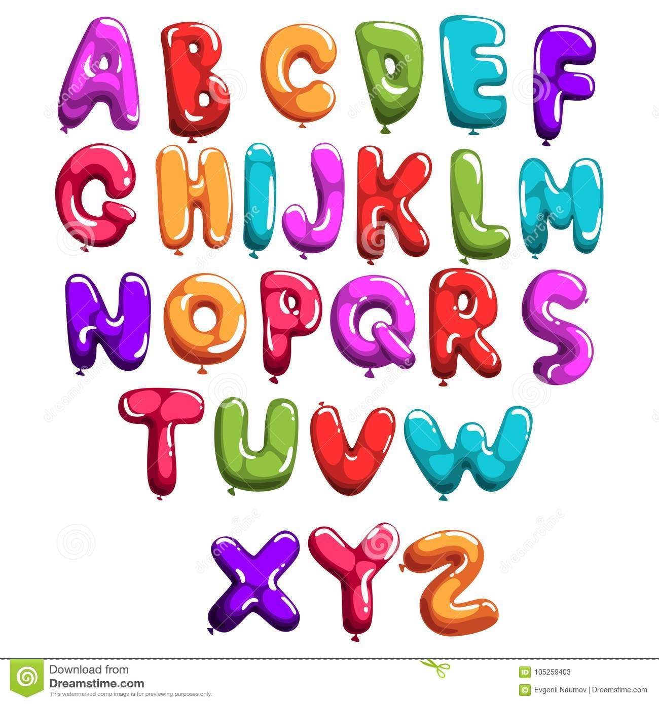 Set Of Colorful Font In Form Balloons  Children`s English