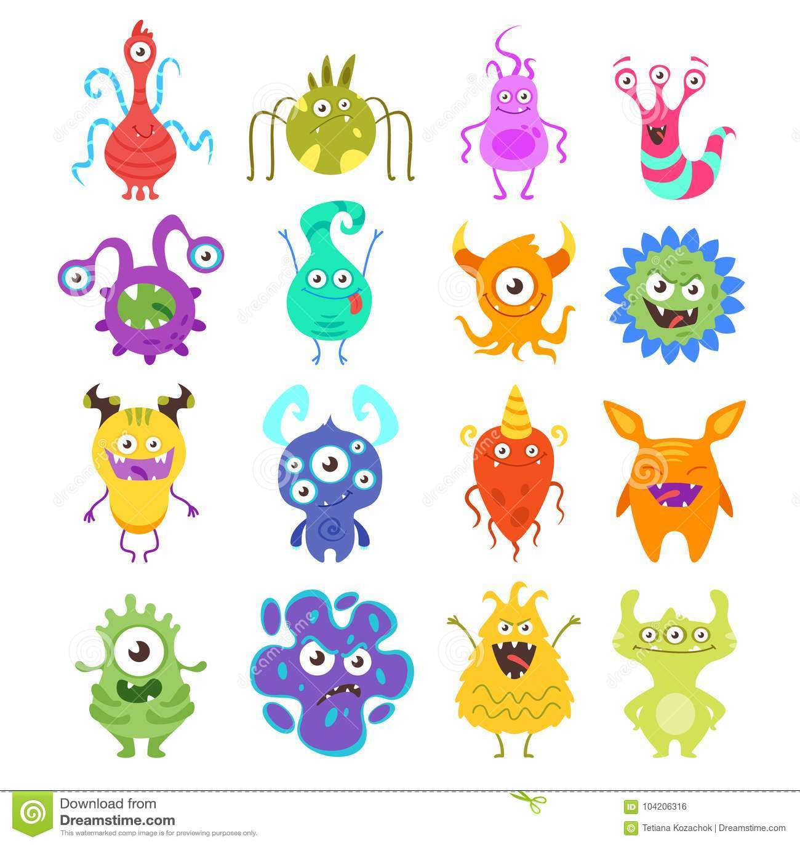 Colorful Bacteria Clip Art