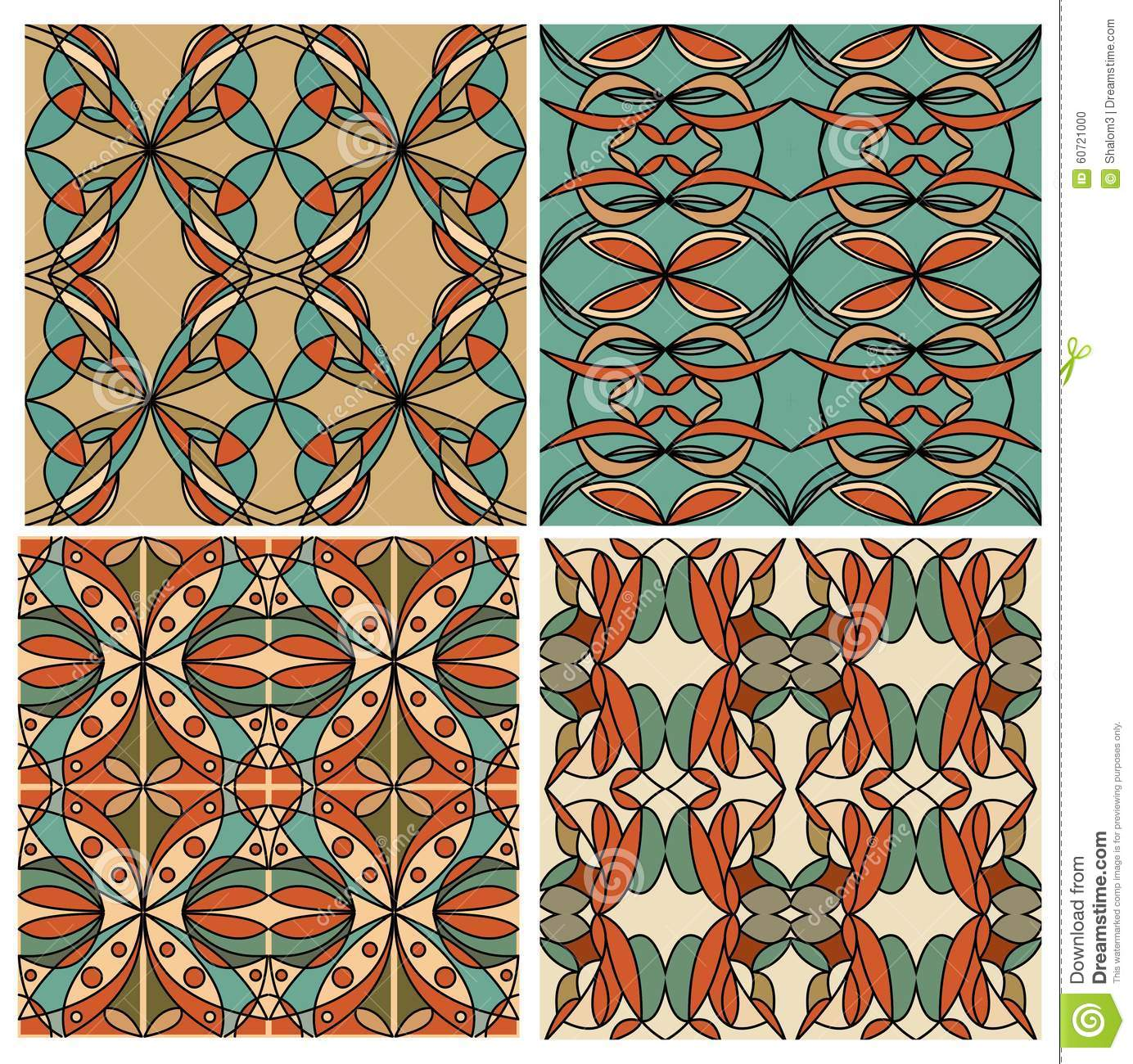 Set of colorful geometric patterned tiles in nostalgic for Deco graphic