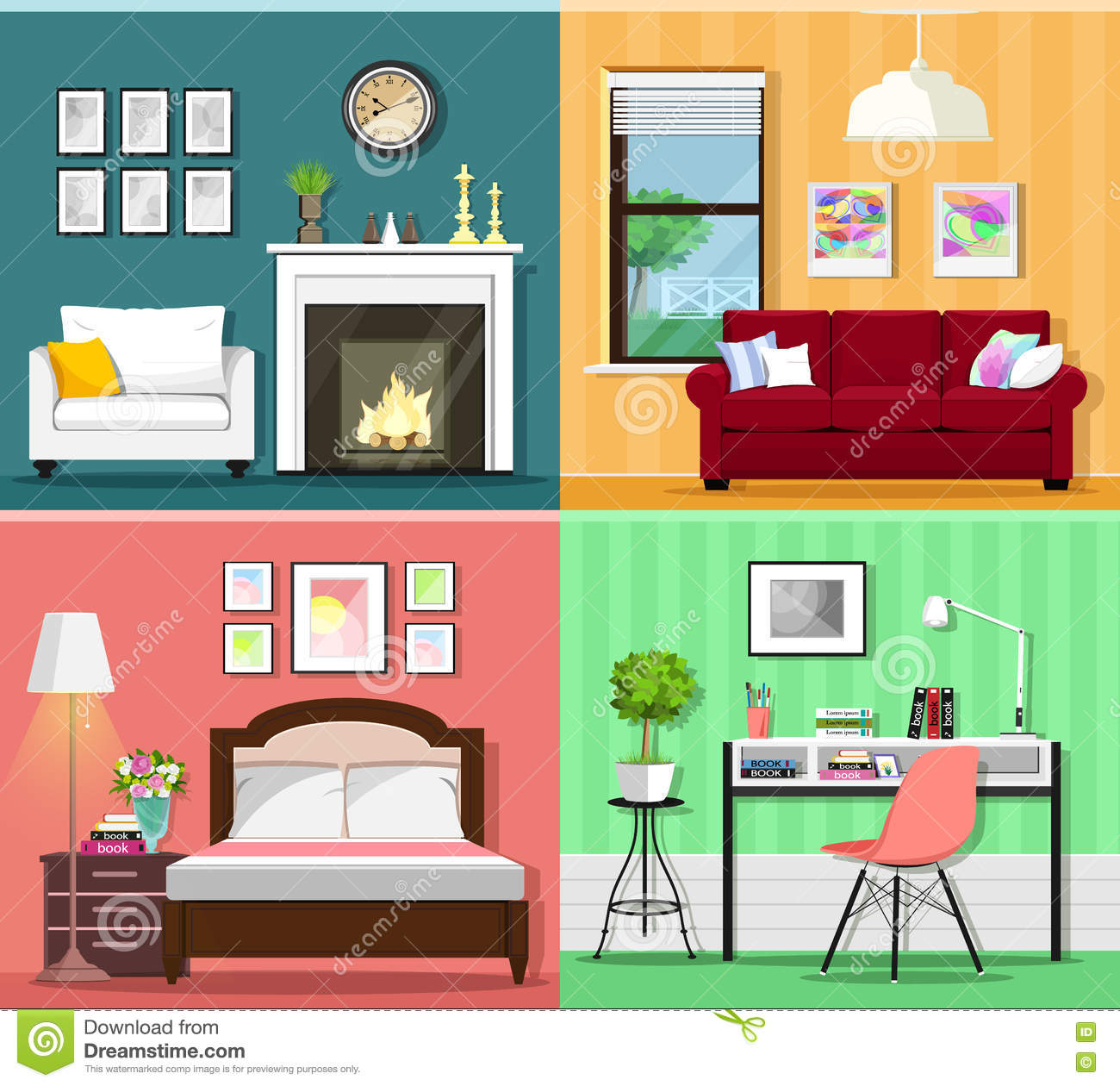 Set of colorful graphic room interiors with furniture for Room design vector