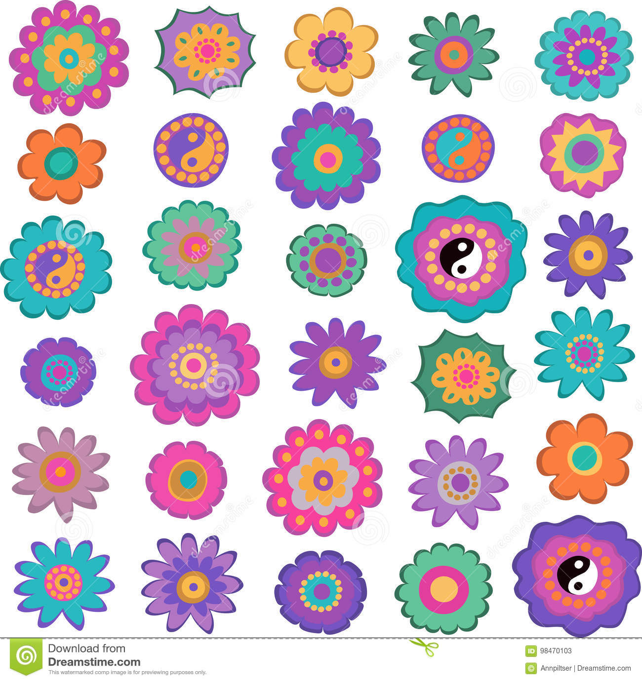 Fiori Hippie.Set Of Colorful Hippie Flowers Stock Vector Illustration Of