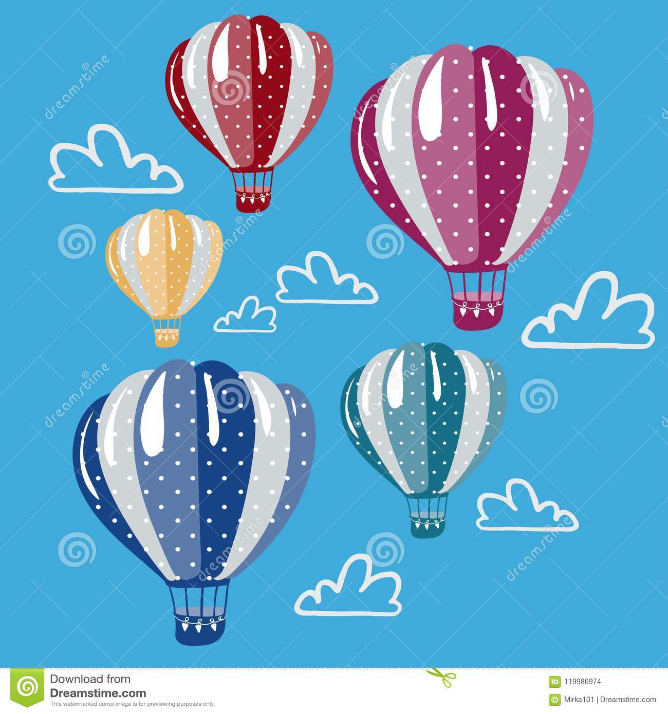 Set of colorful hot air balloons in the sky