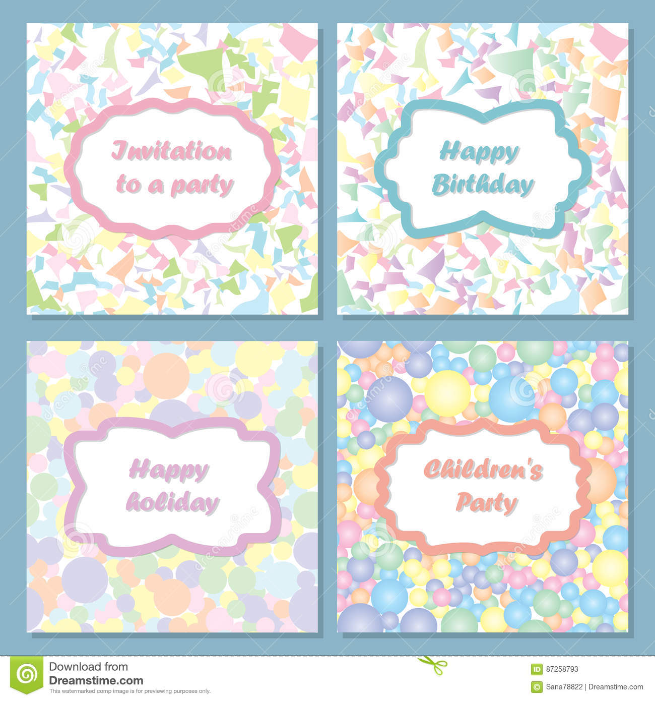 set of colorful invitations for your holiday you can use return as