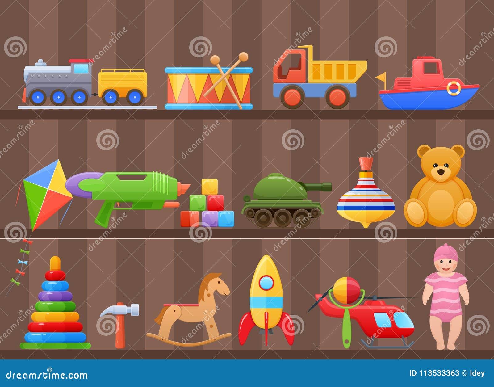Set colorful kids, children`s toys cartoon, on shelf of cabinet.