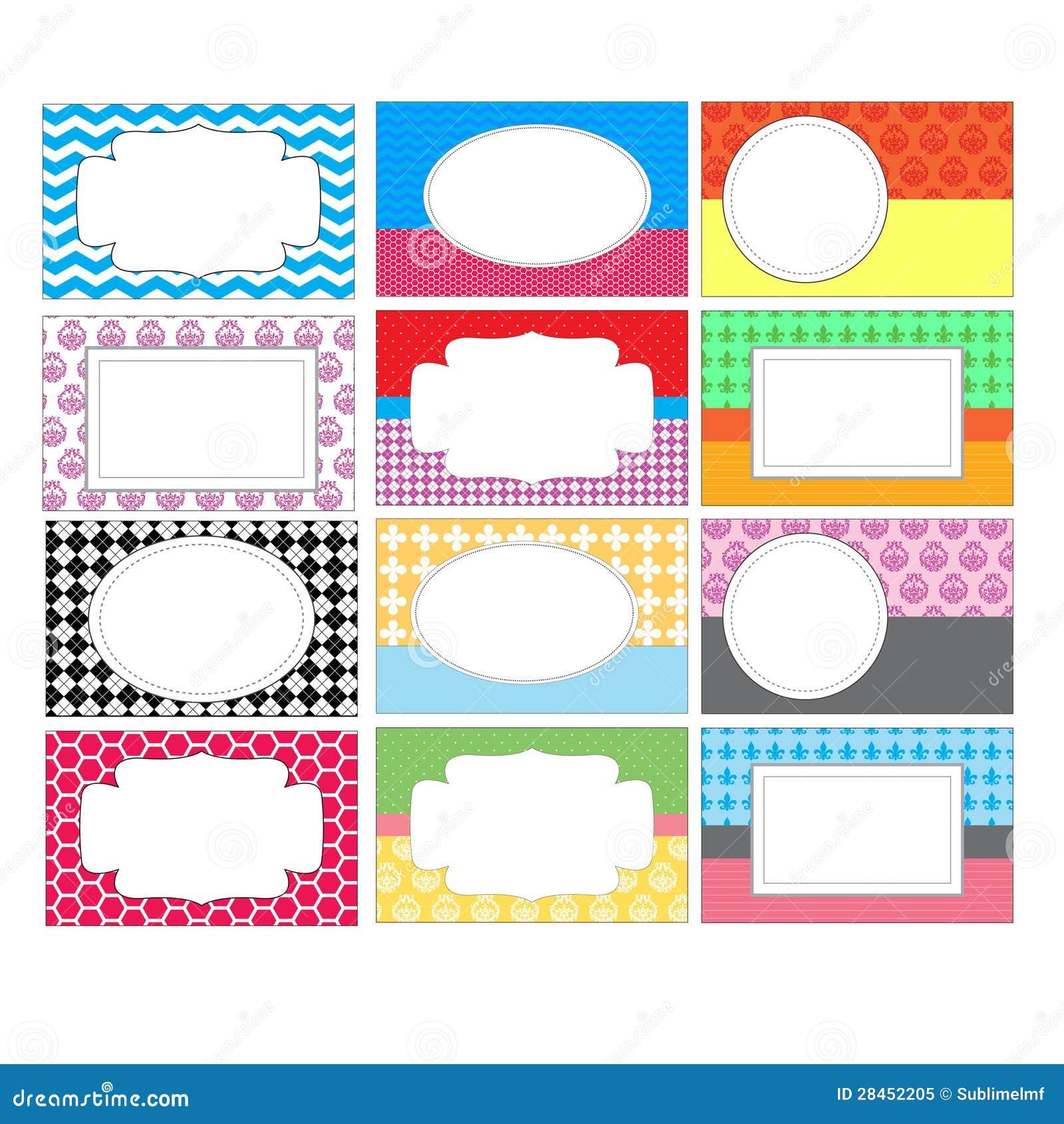 8 up label template - set of colorful labels stock illustration illustration of