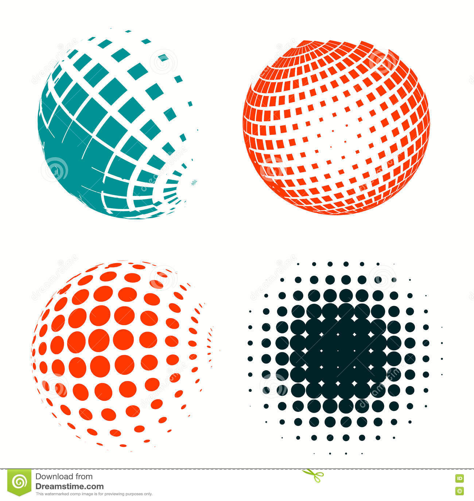 Set Of Colorful Logos Halftone Circles Logo, Vector Illustration