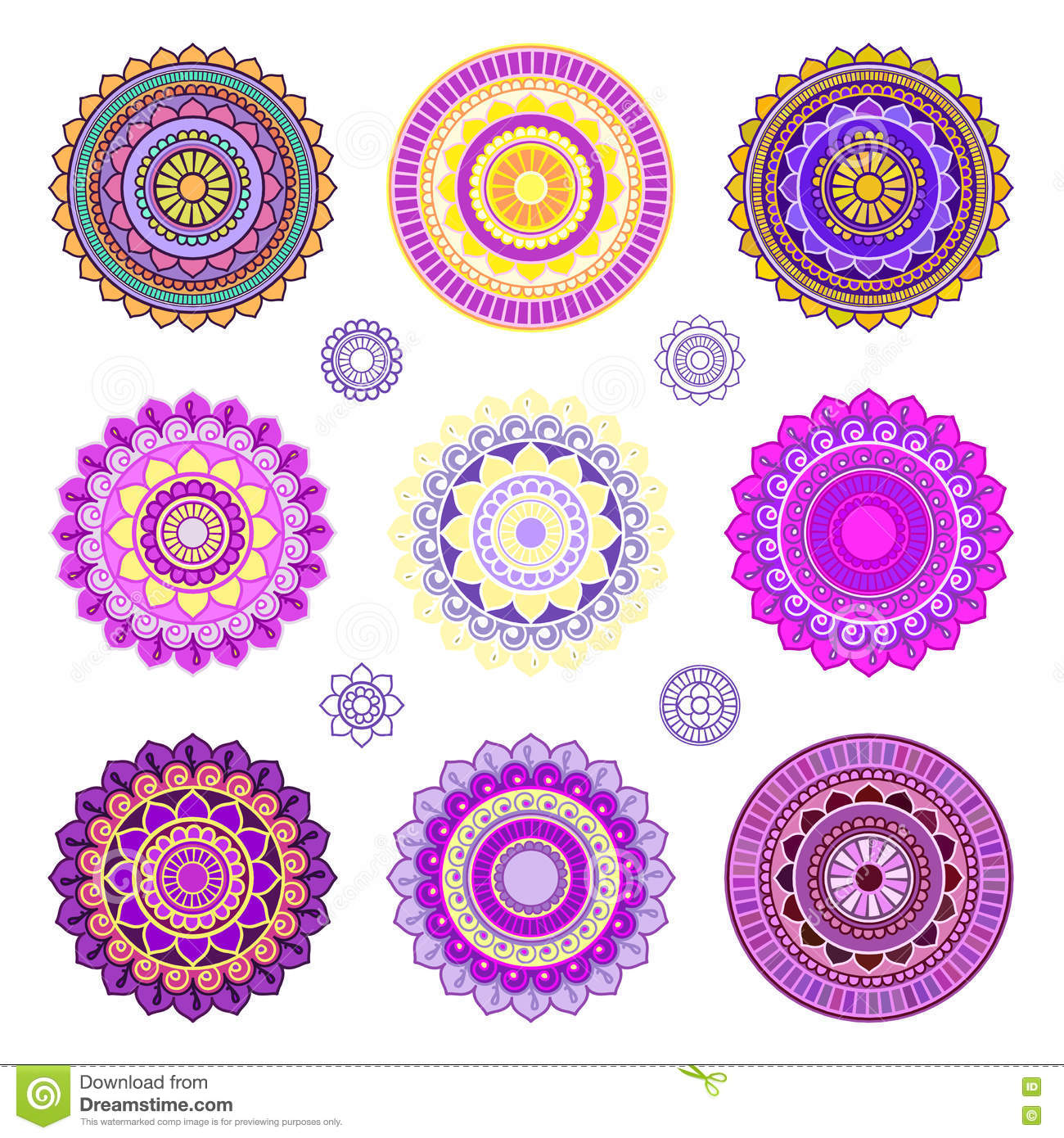 set of colorful mandalas stock photo image of background 72950556. Black Bedroom Furniture Sets. Home Design Ideas